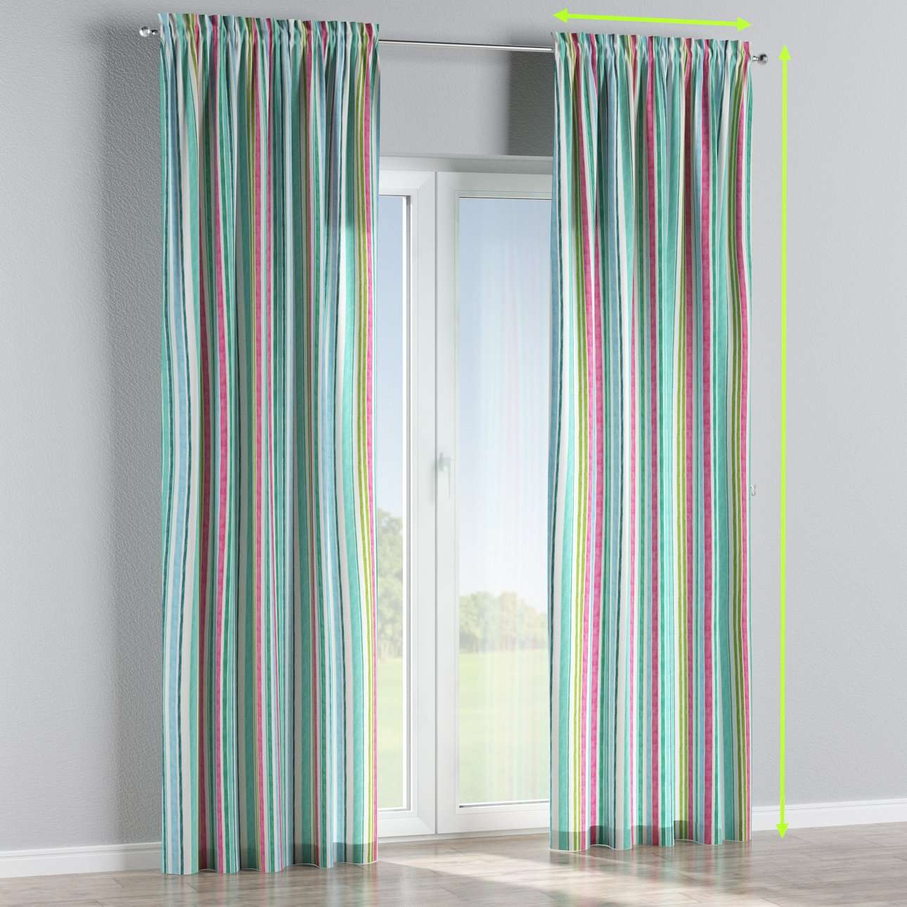 Slot and frill lined curtains in collection Monet, fabric: 140-03