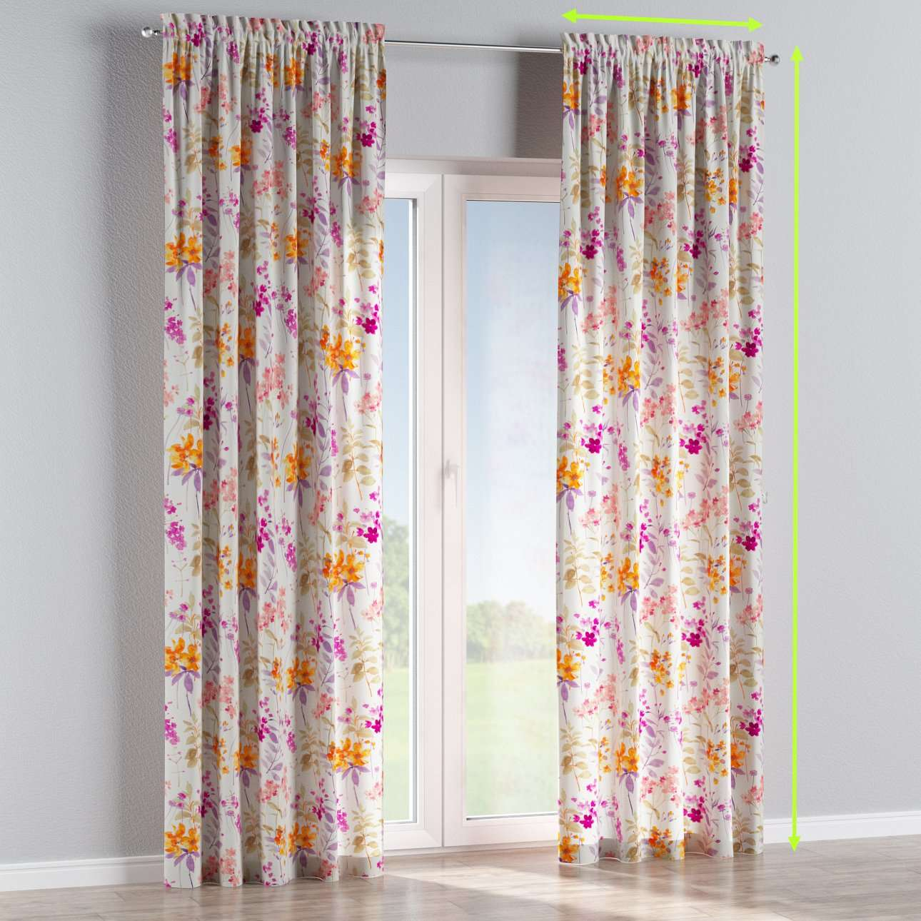 Slot and frill lined curtains in collection Monet, fabric: 140-04