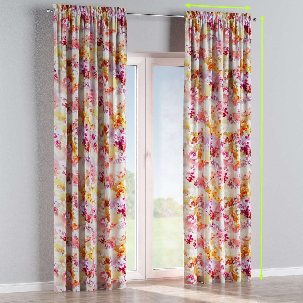 Slot and frill lined curtains in collection Monet, fabric: 140-05