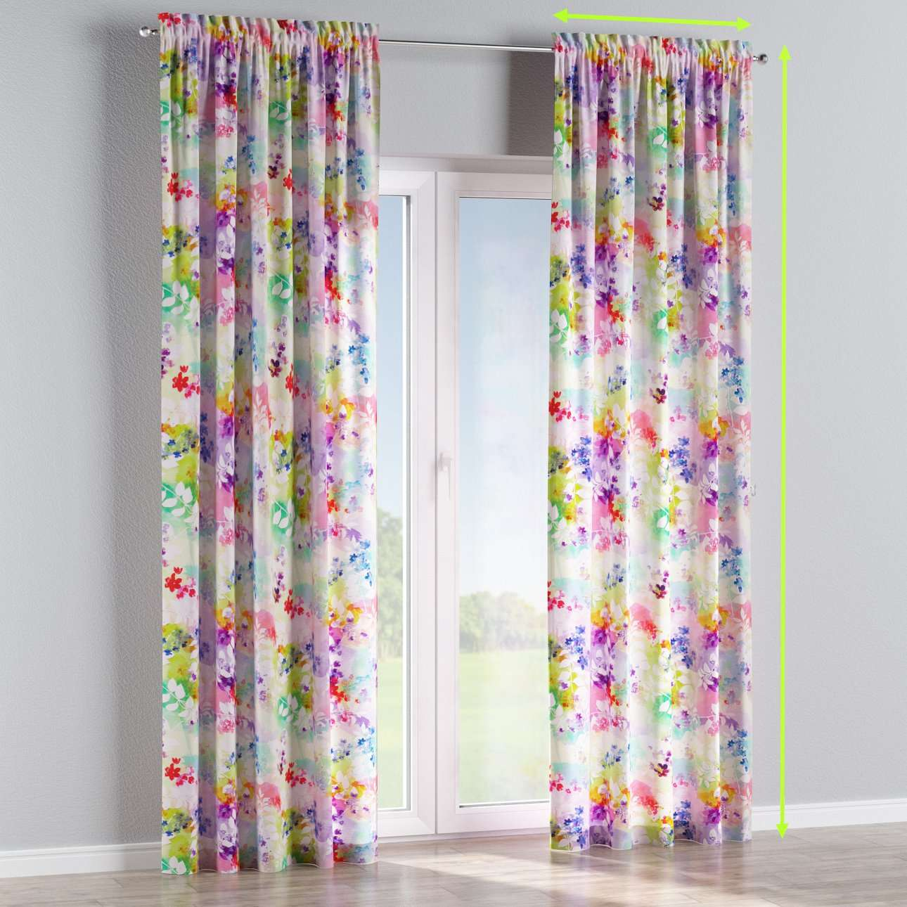 Slot and frill lined curtains in collection Monet, fabric: 140-07