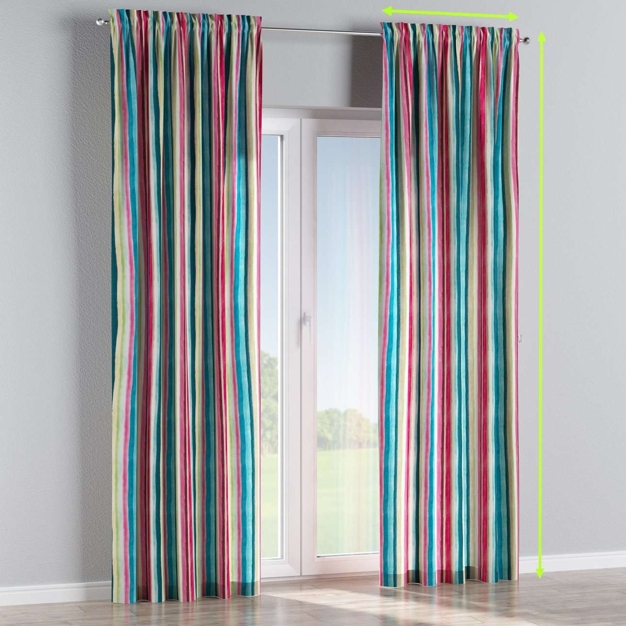 Slot and frill lined curtains in collection Monet, fabric: 140-09