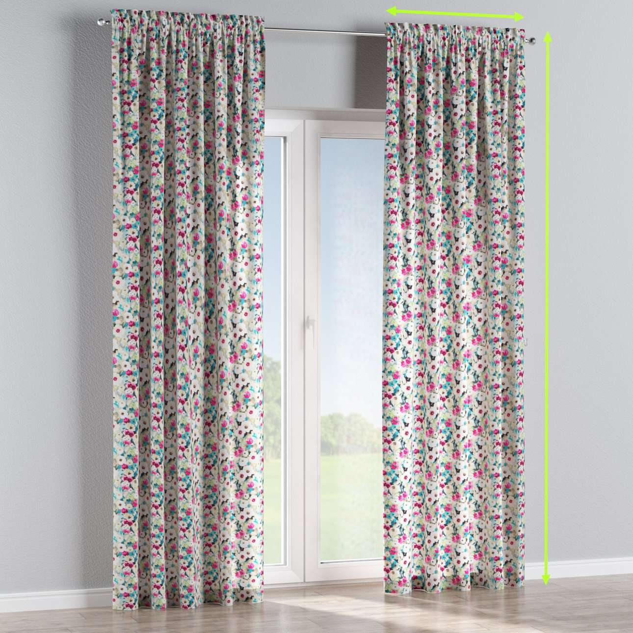 Slot and frill lined curtains in collection Monet, fabric: 140-10