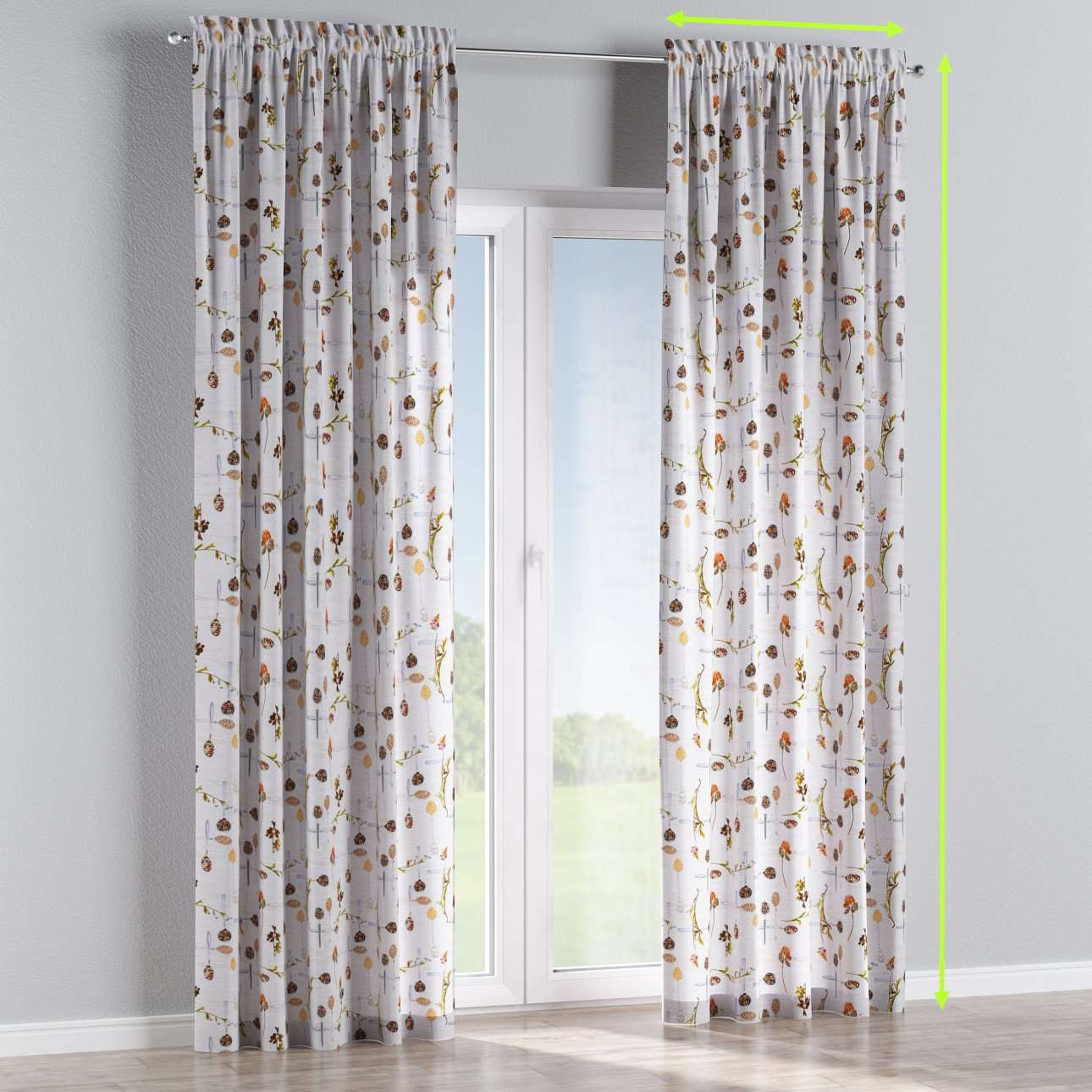 Slot and frill lined curtains in collection Flowers, fabric: 140-11