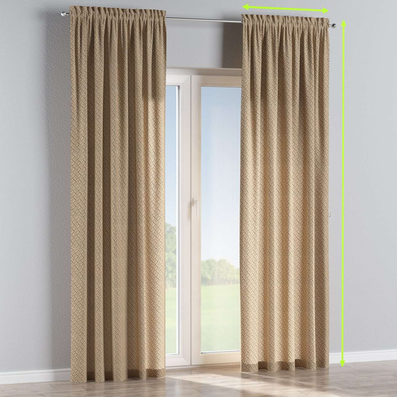 Slot and frill lined curtains in collection Marina, fabric: 140-17