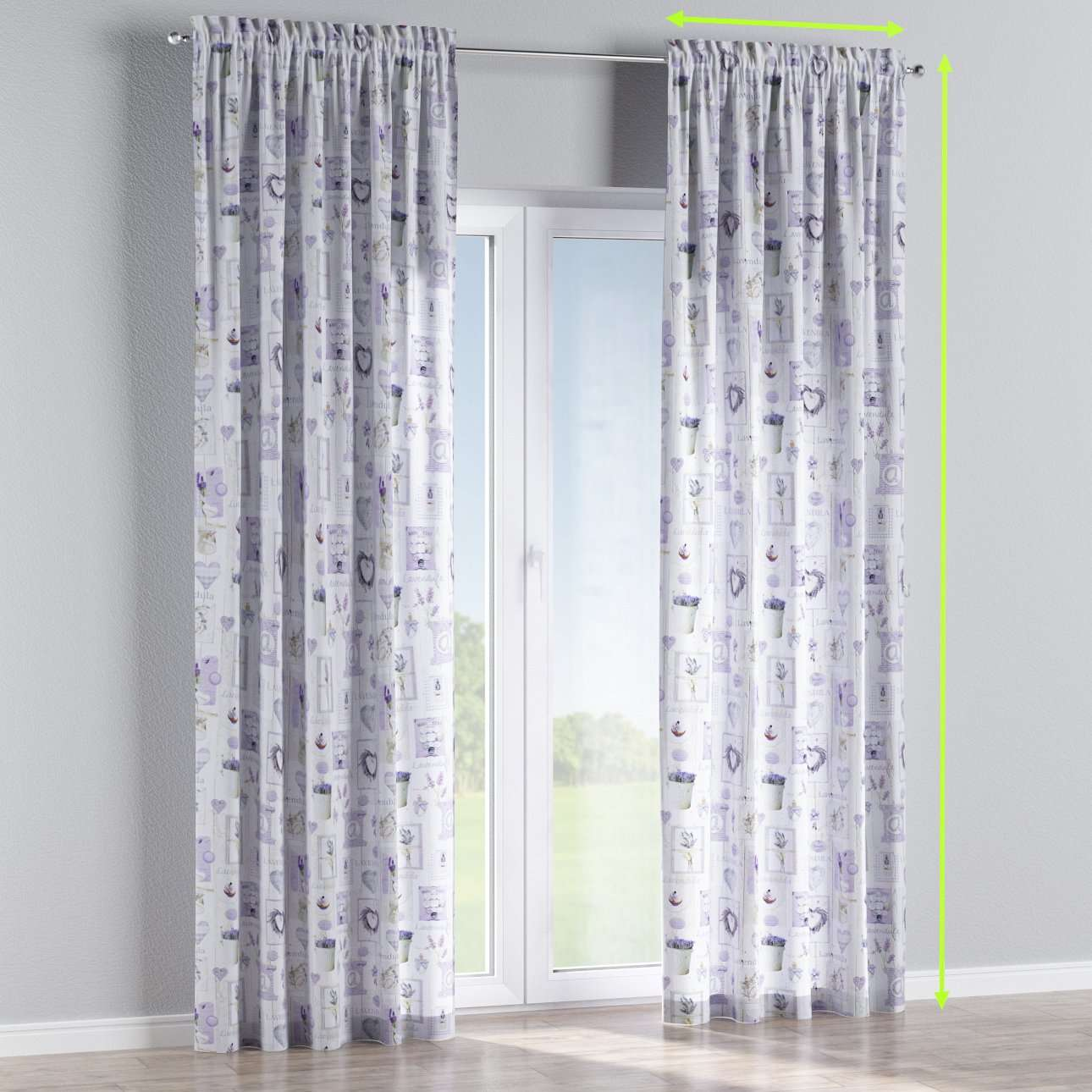 Slot and frill lined curtains in collection Ashley, fabric: 140-18