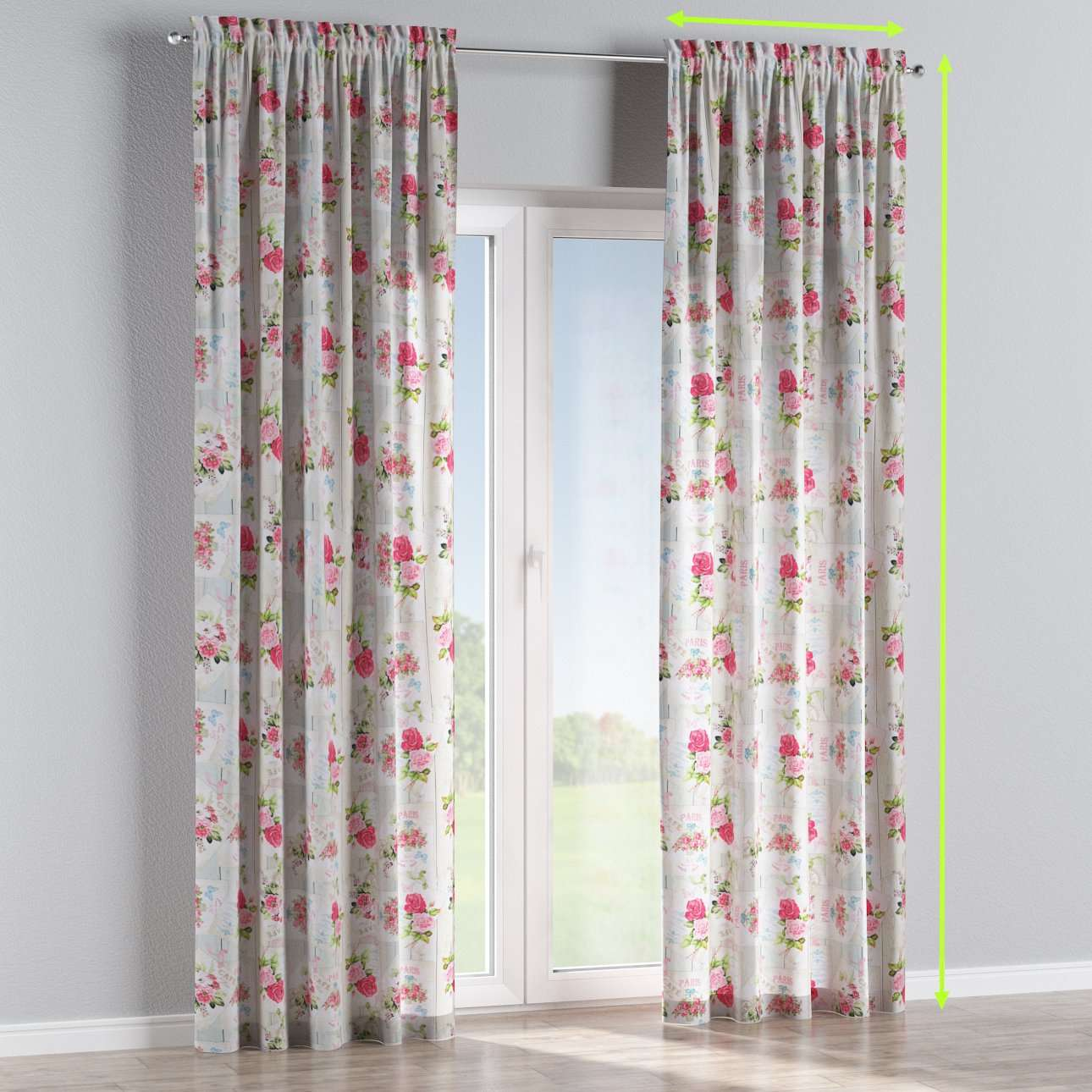Slot and frill lined curtains in collection Ashley, fabric: 140-19