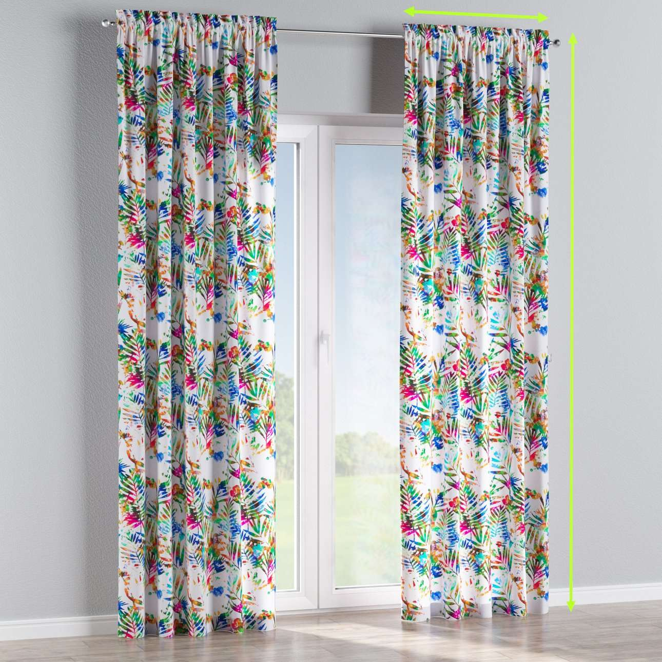 Slot and frill lined curtains in collection New Art, fabric: 140-22