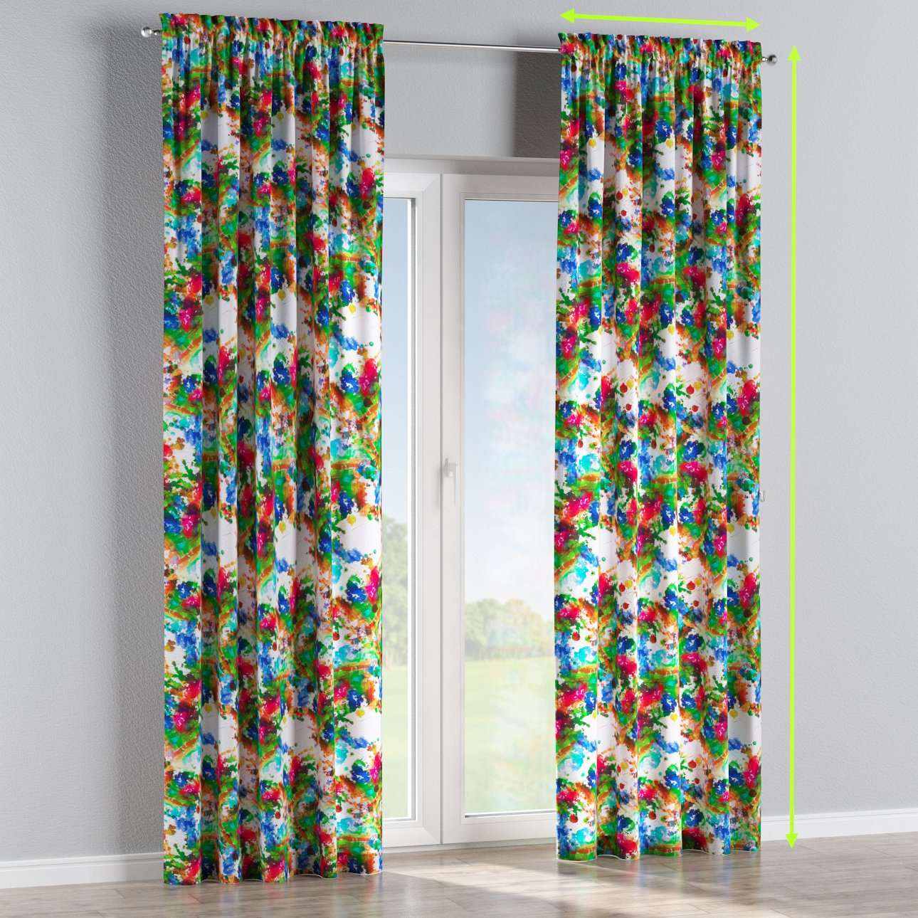 Slot and frill lined curtains in collection New Art, fabric: 140-23