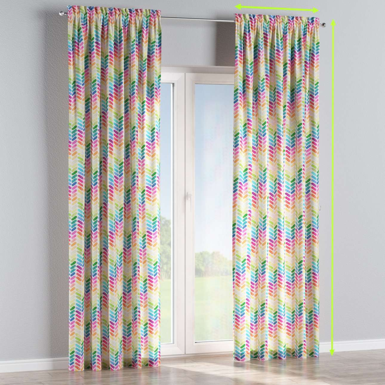 Slot and frill lined curtains in collection New Art, fabric: 140-25