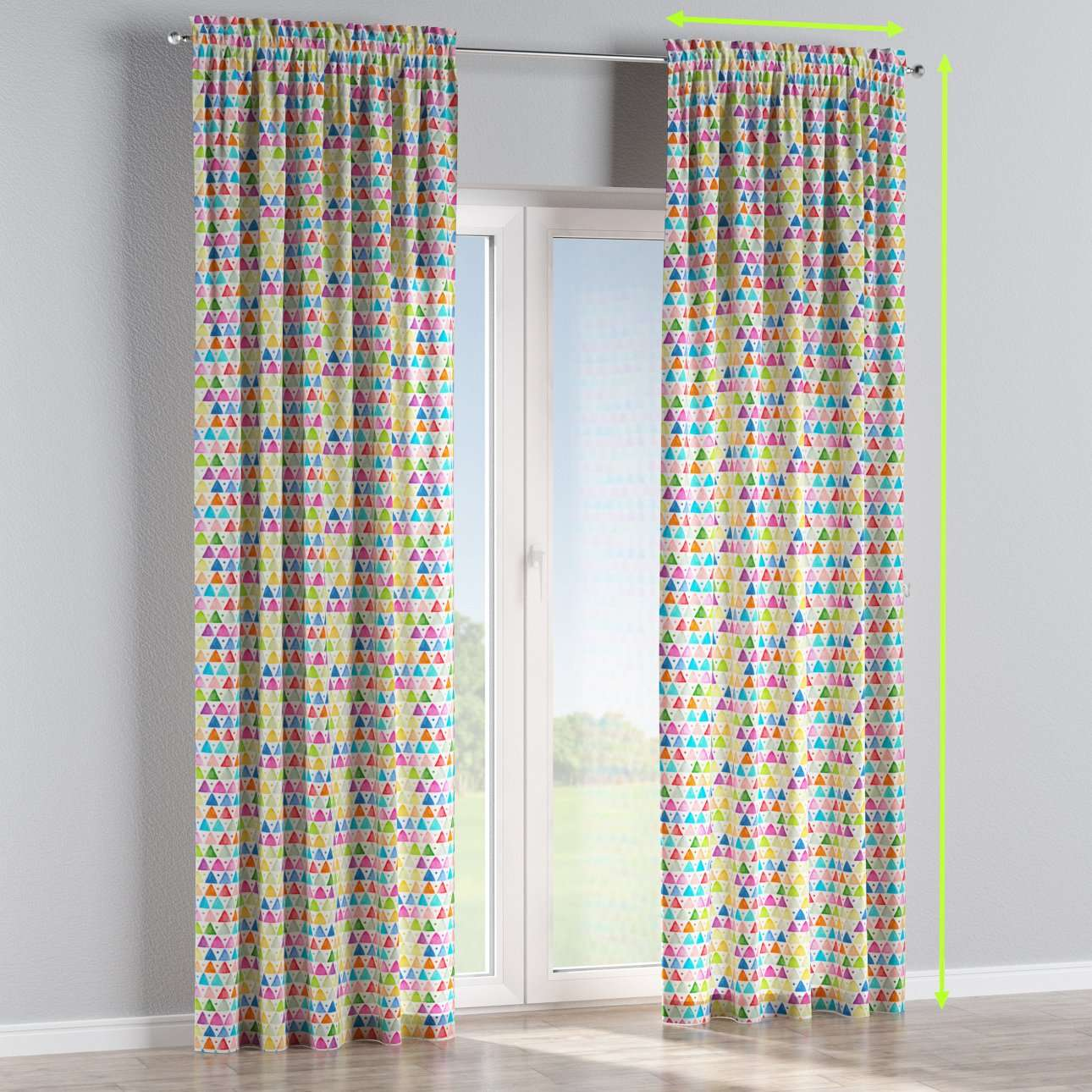 Slot and frill lined curtains in collection New Art, fabric: 140-27