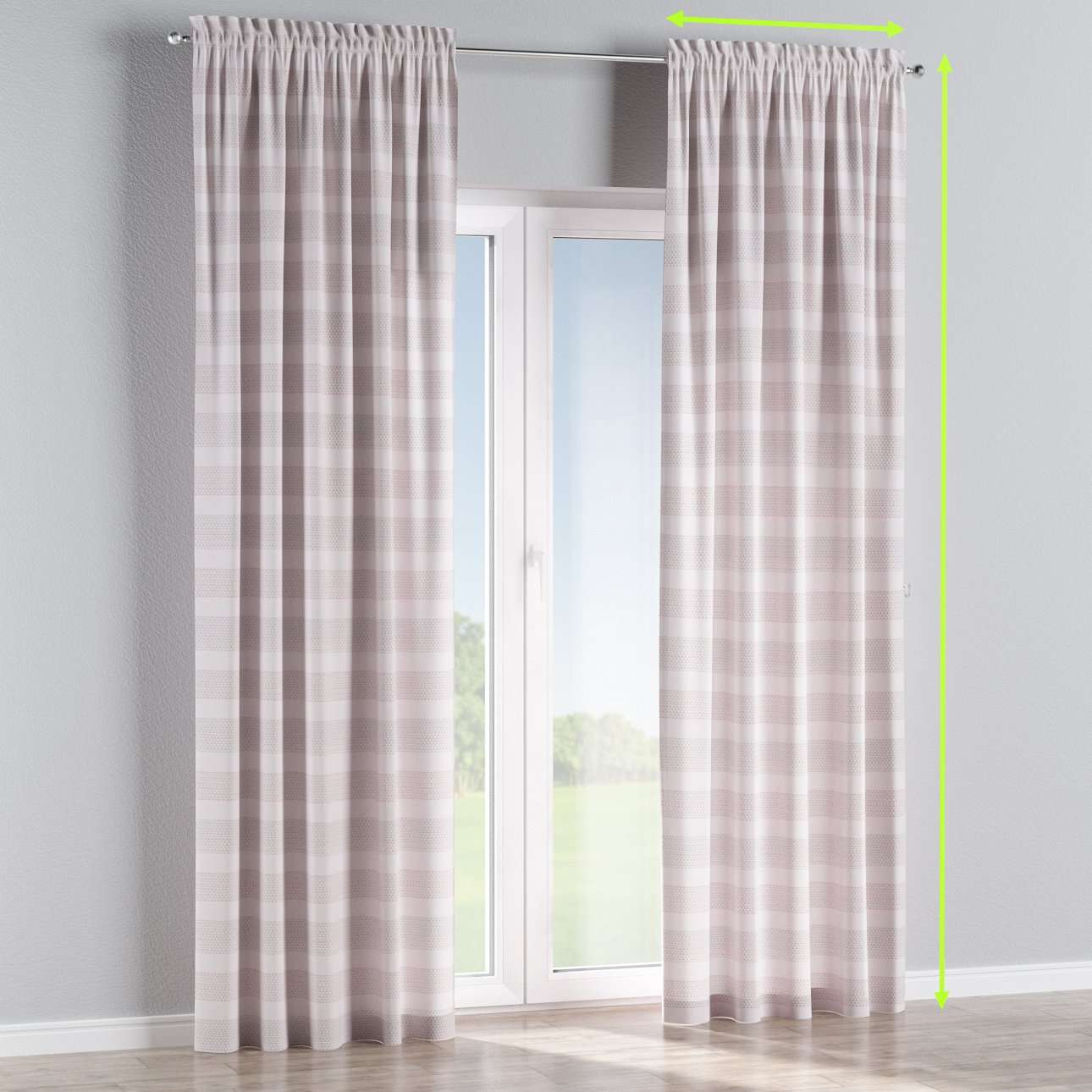 Slot and frill lined curtains in collection Rustica, fabric: 140-29