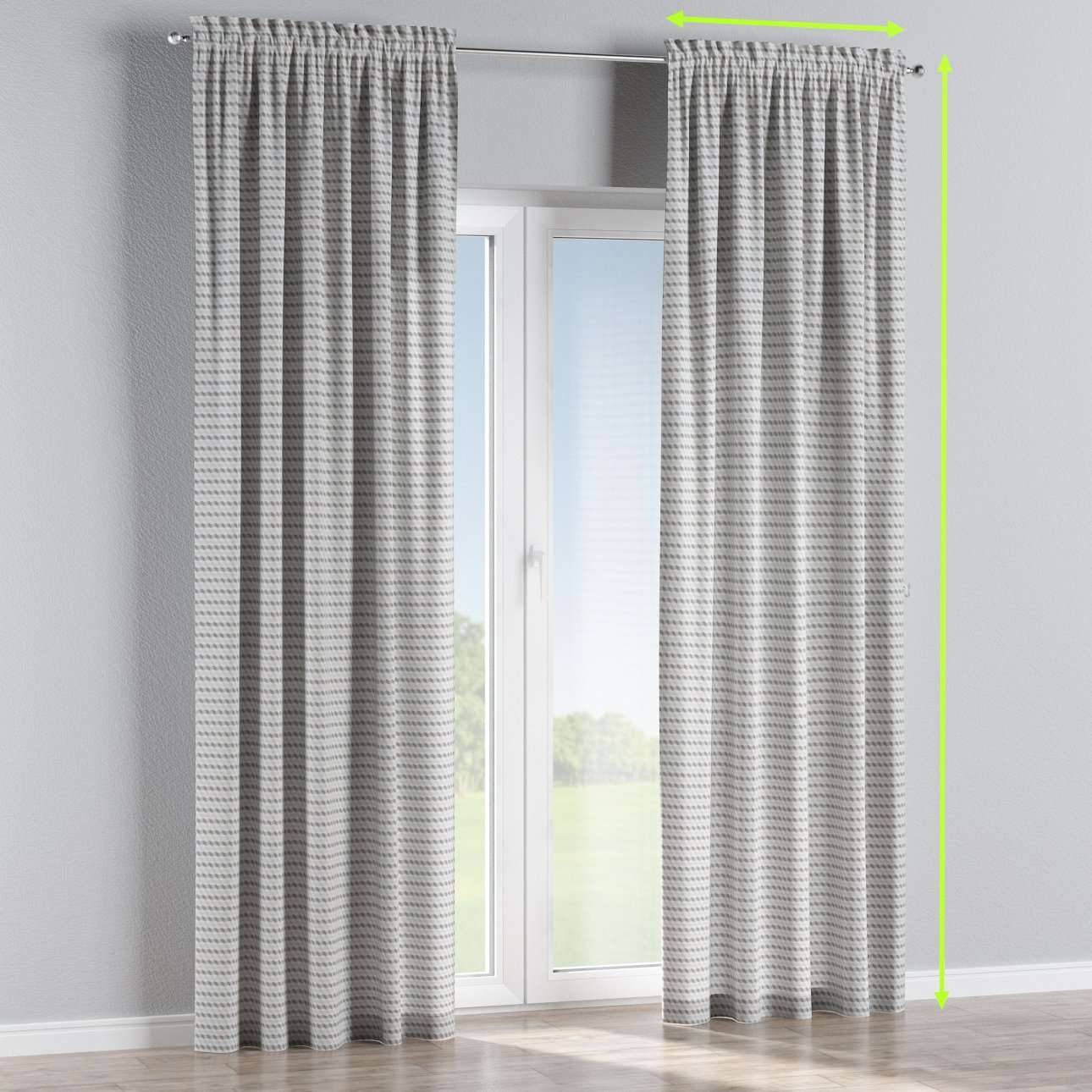 Slot and frill lined curtains in collection Rustica, fabric: 140-33