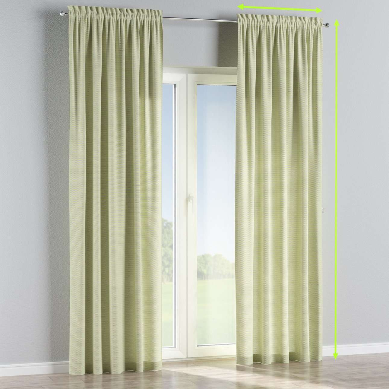 Slot and frill lined curtains in collection Rustica, fabric: 140-34