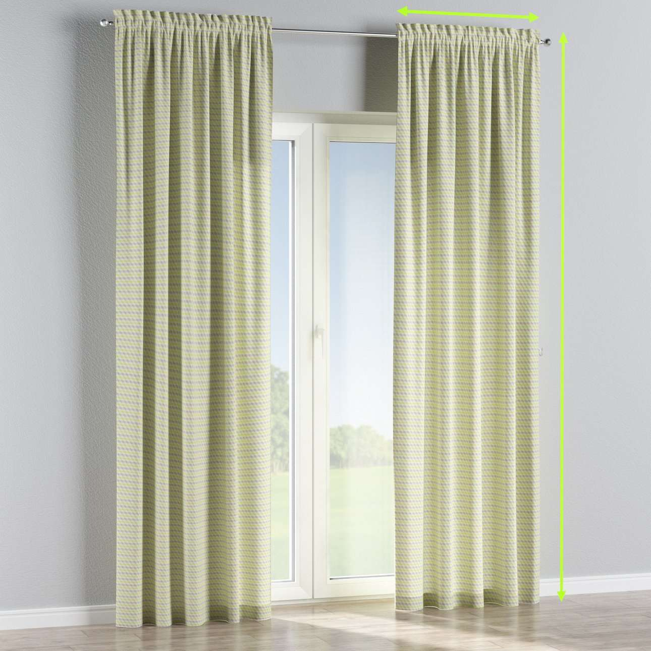 Slot and frill lined curtains in collection Rustica, fabric: 140-36