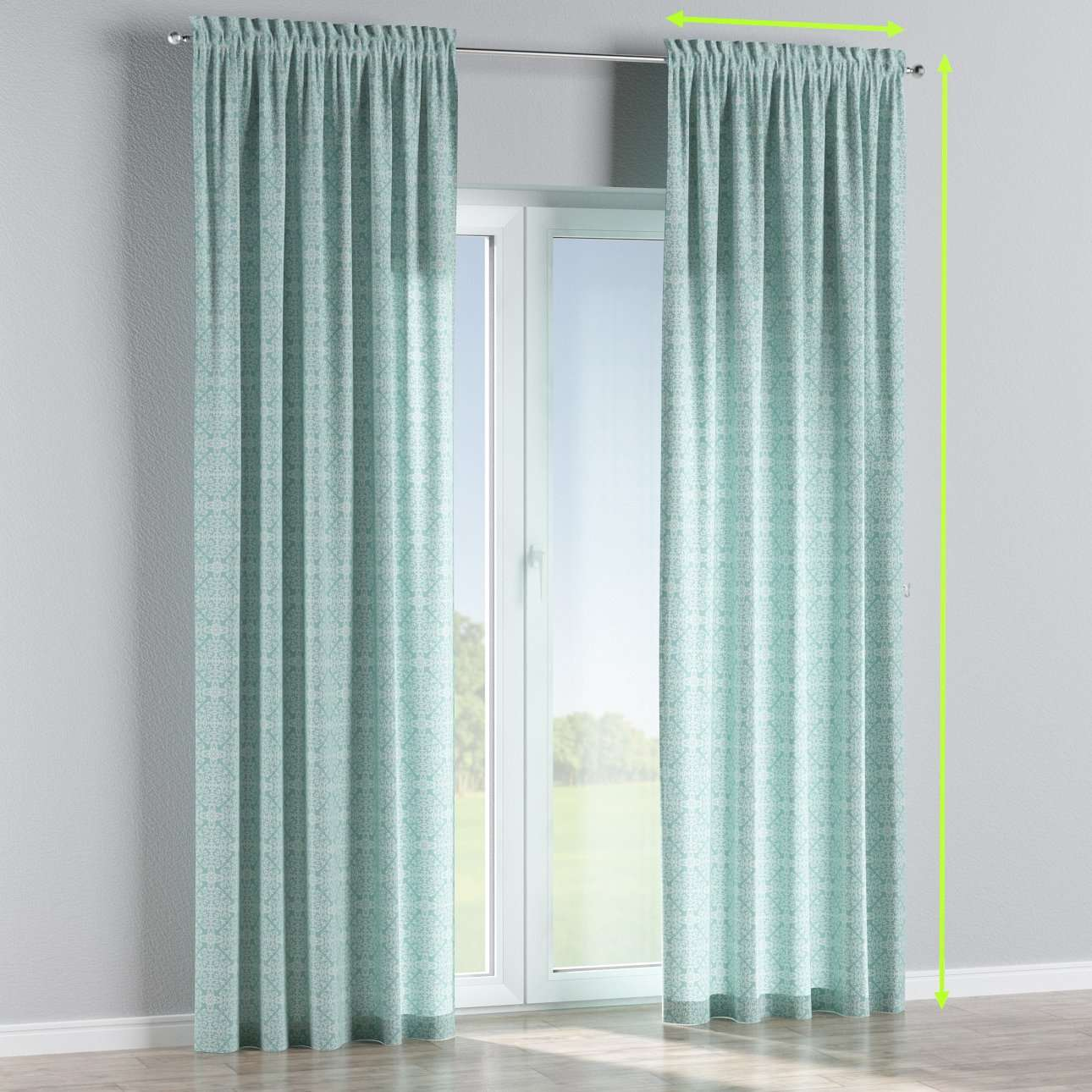 Slot and frill lined curtains in collection Flowers, fabric: 140-37