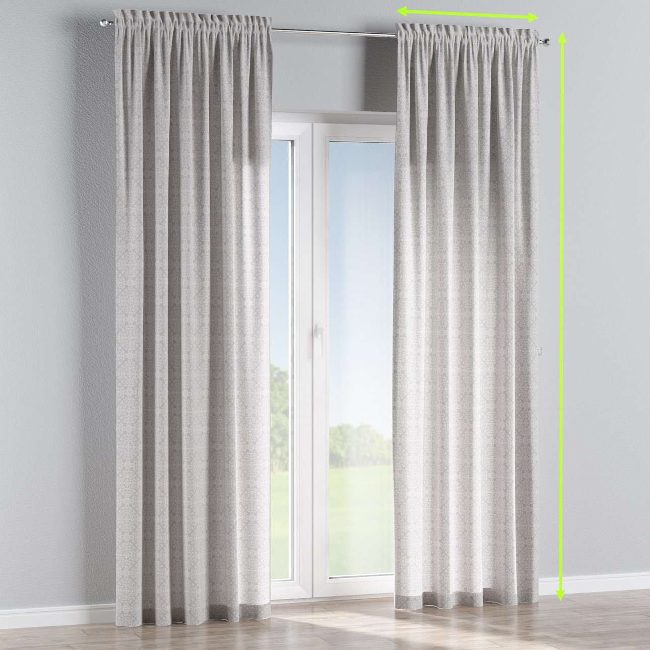 Slot and frill lined curtains in collection Flowers, fabric: 140-38