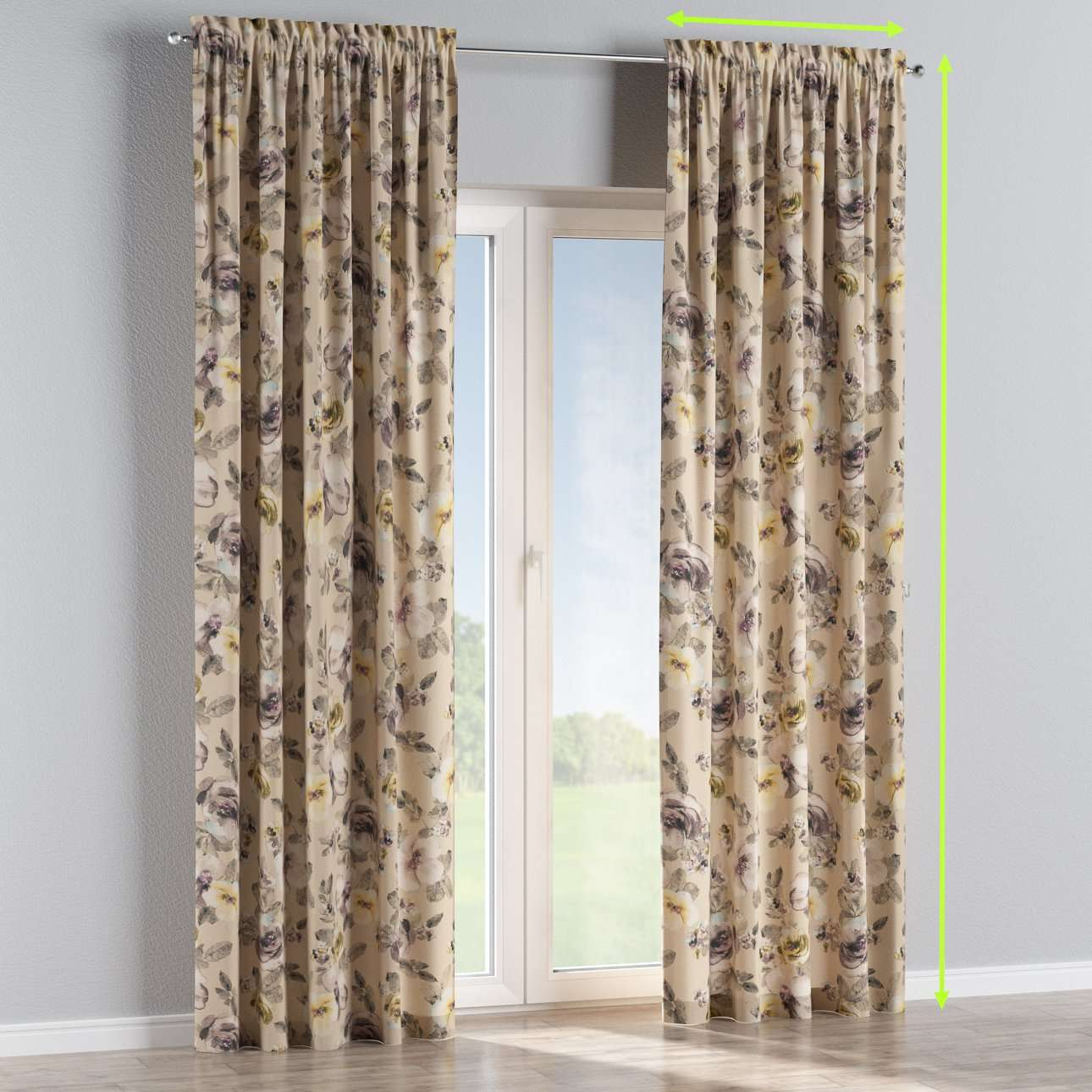 Slot and frill lined curtains in collection Londres, fabric: 140-44
