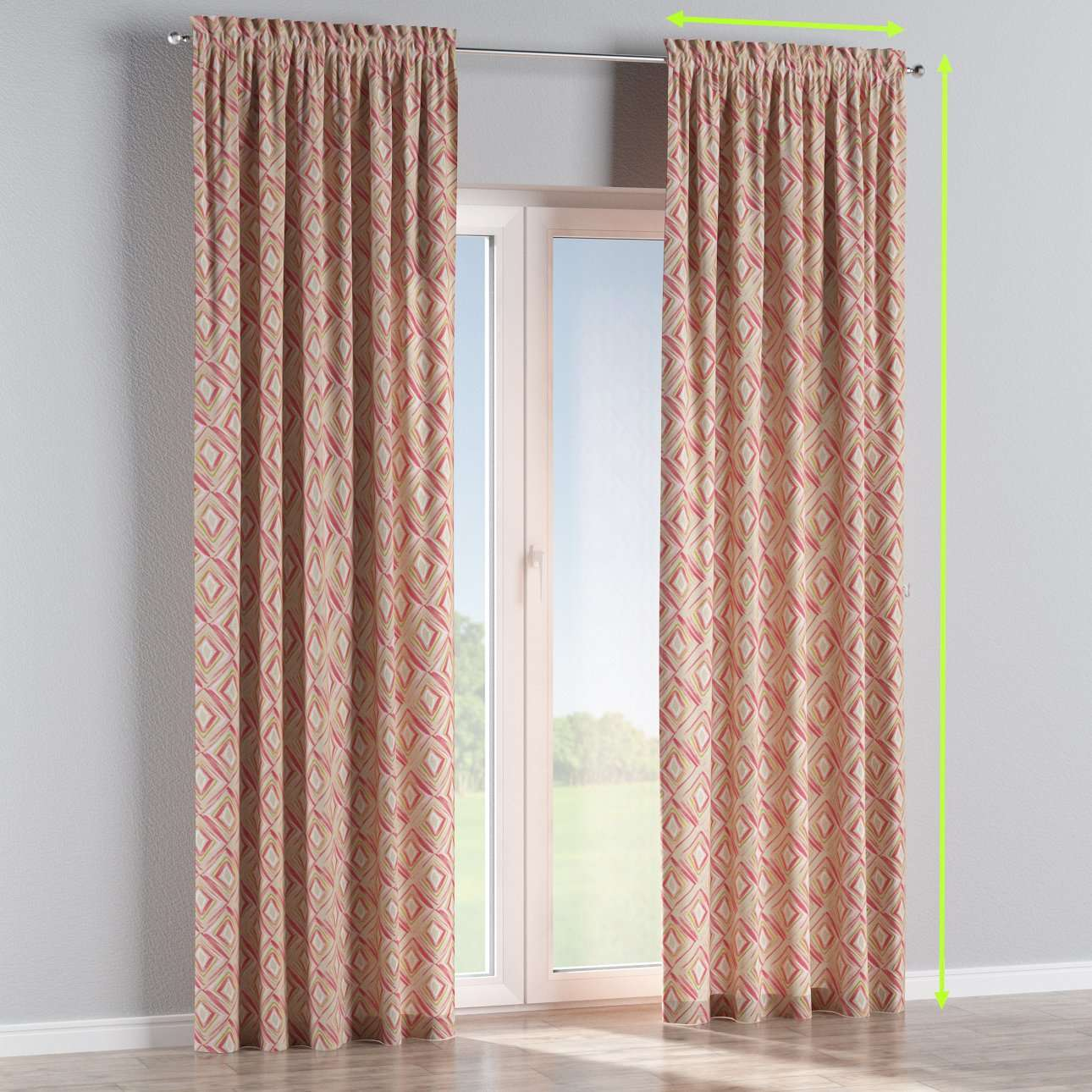 Slot and frill lined curtains in collection Londres, fabric: 140-45