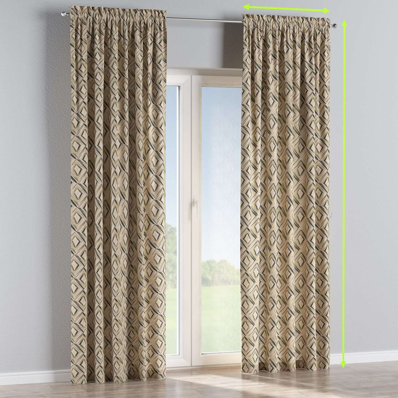 Slot and frill lined curtains in collection Londres, fabric: 140-46