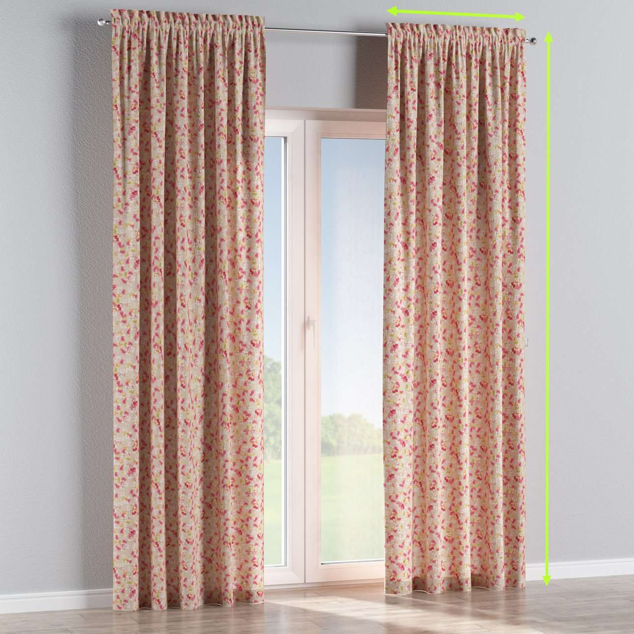 Slot and frill lined curtains in collection Londres, fabric: 140-47
