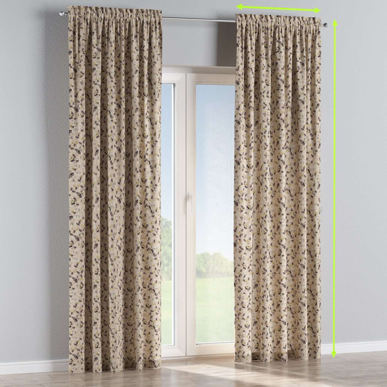 Slot and frill lined curtains in collection Londres, fabric: 140-48