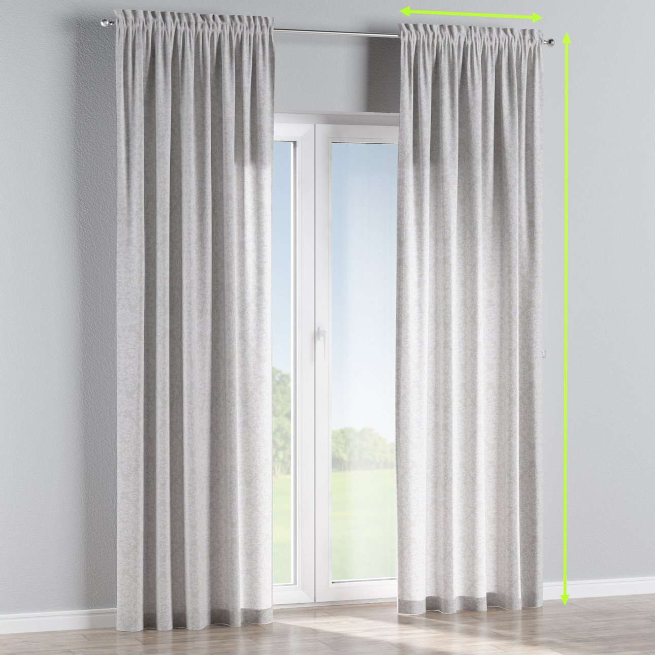 Slot and frill lined curtains in collection Venice, fabric: 140-49