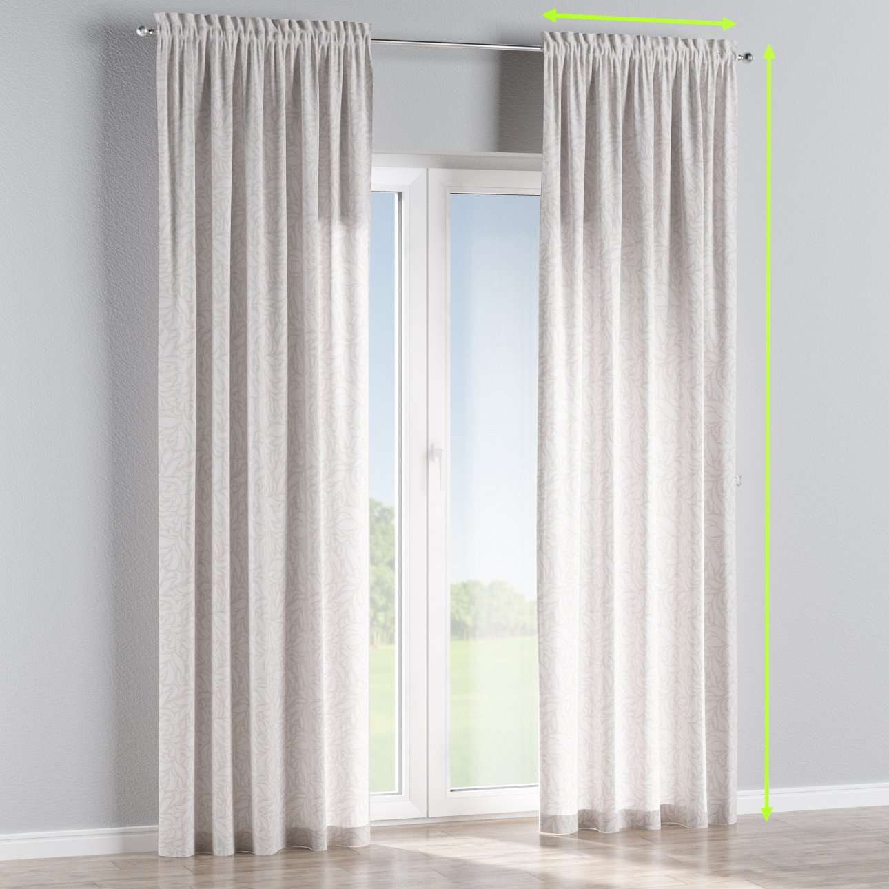 Slot and frill lined curtains in collection Venice, fabric: 140-50