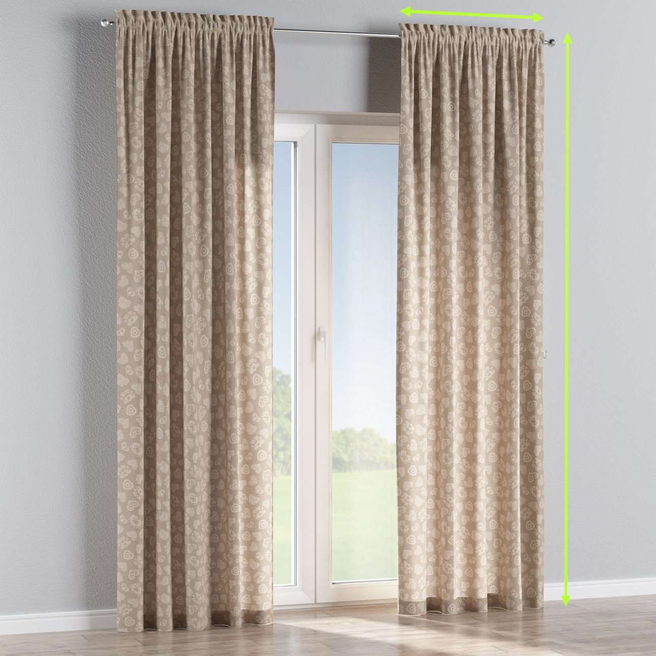 Slot and frill lined curtains in collection Flowers, fabric: 140-56