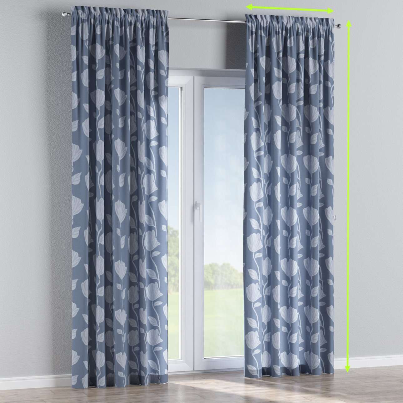 Slot and frill lined curtains in collection Venice, fabric: 140-61