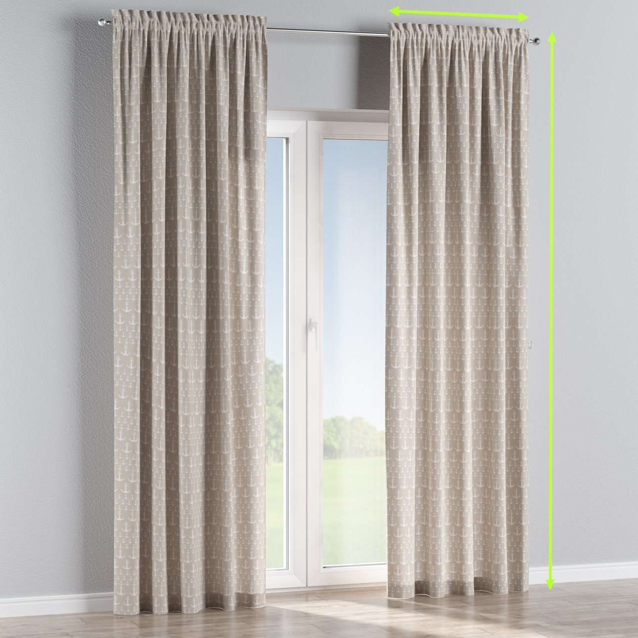 Slot and frill lined curtains in collection Marina, fabric: 140-63