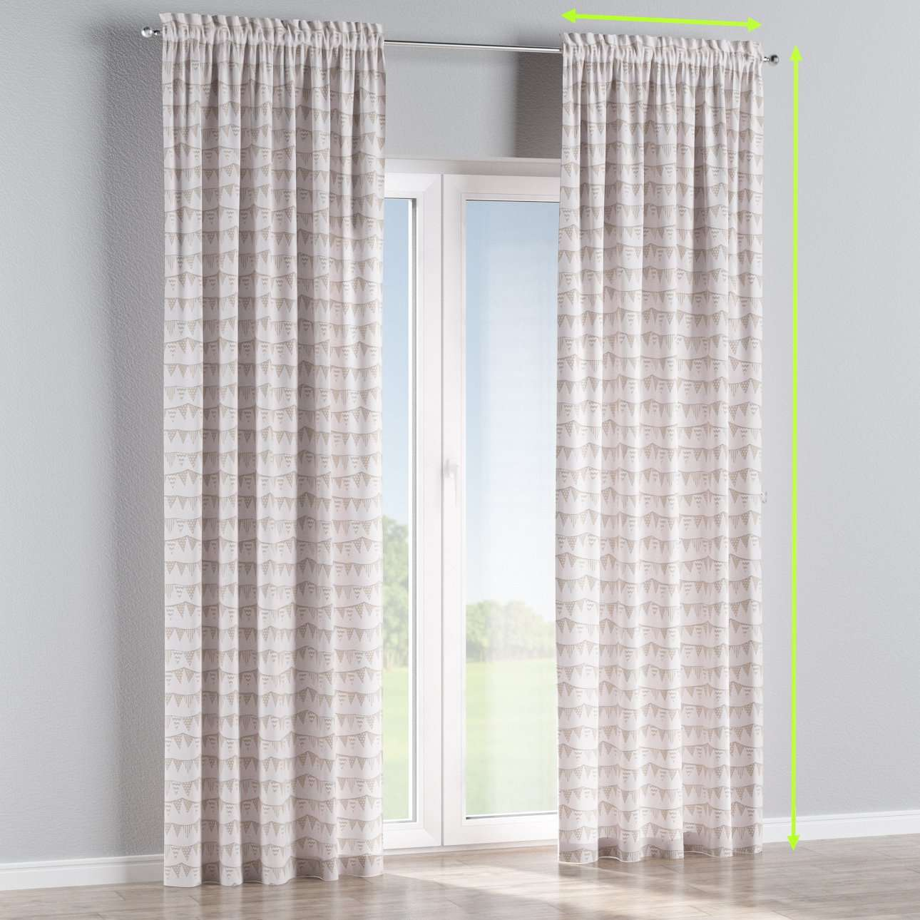 Slot and frill lined curtains in collection Marina, fabric: 140-65