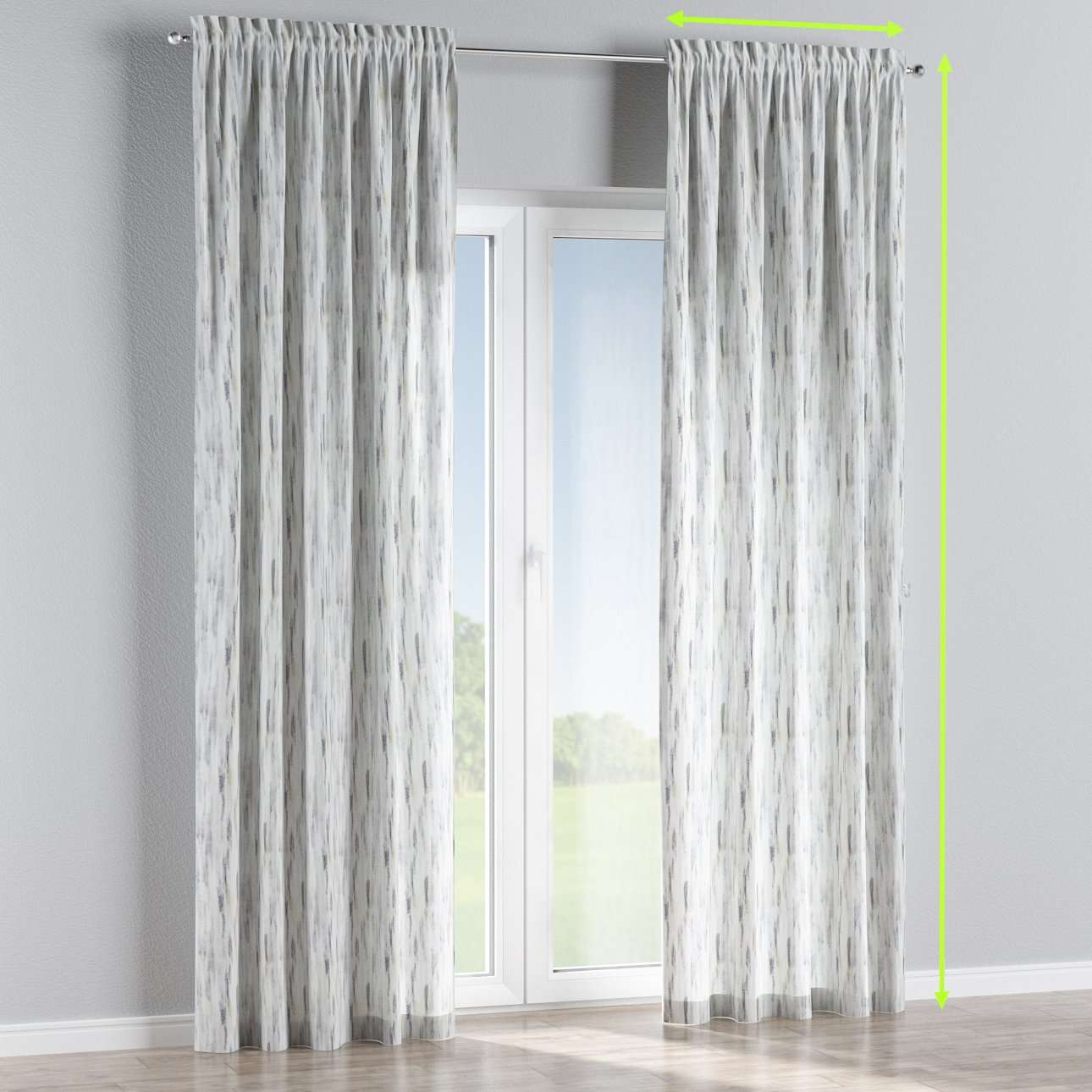 Slot and frill lined curtains in collection Aquarelle, fabric: 140-66