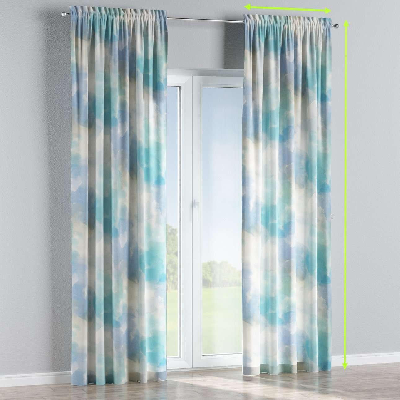 Slot and frill lined curtains in collection Aquarelle, fabric: 140-67