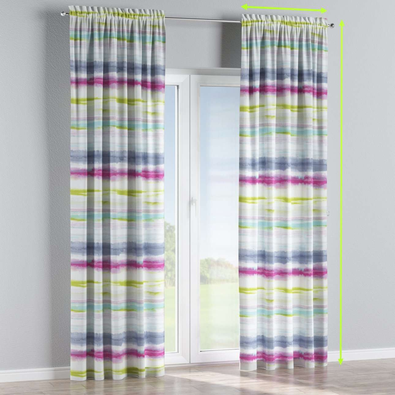 Slot and frill lined curtains in collection Aquarelle, fabric: 140-69