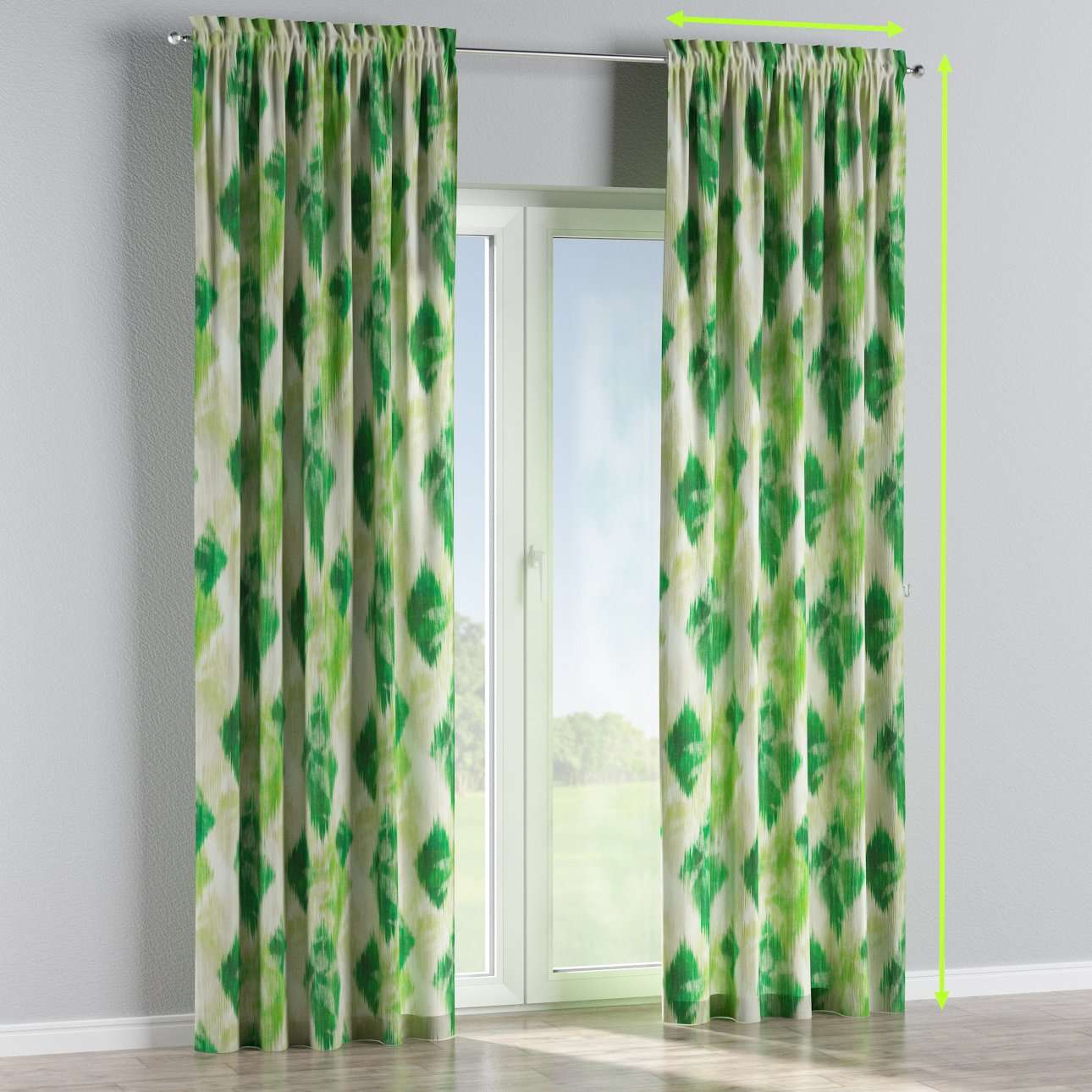 Slot and frill lined curtains in collection Aquarelle, fabric: 140-70