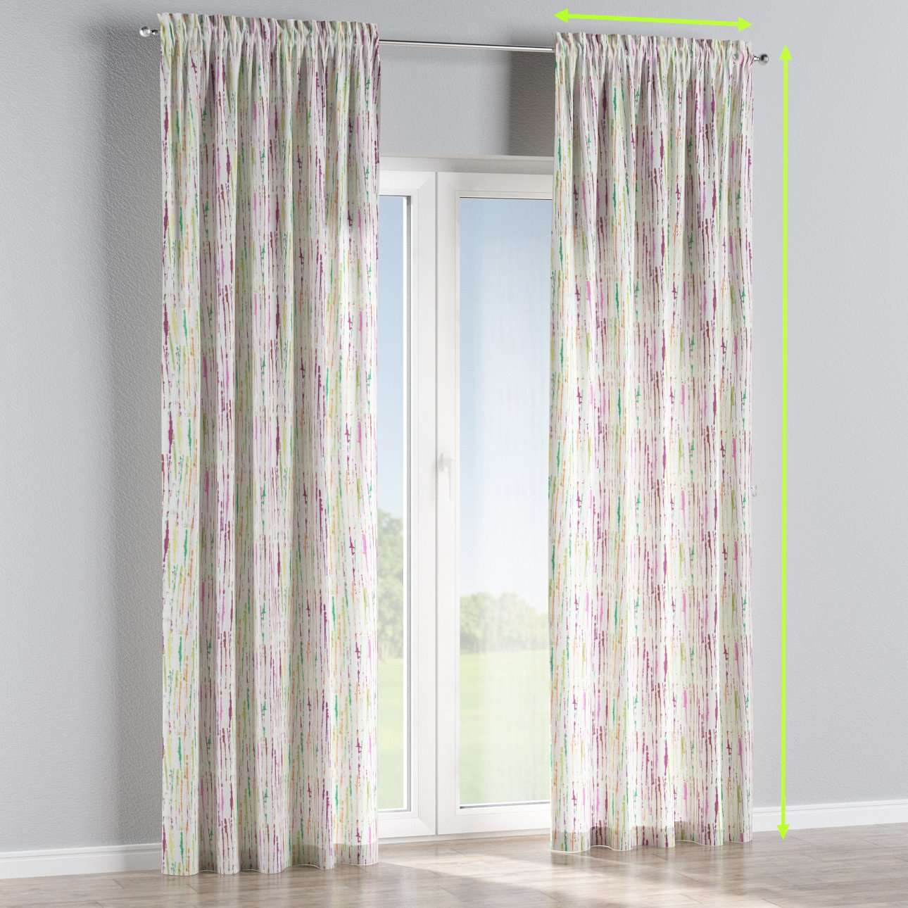 Slot and frill lined curtains in collection Aquarelle, fabric: 140-72