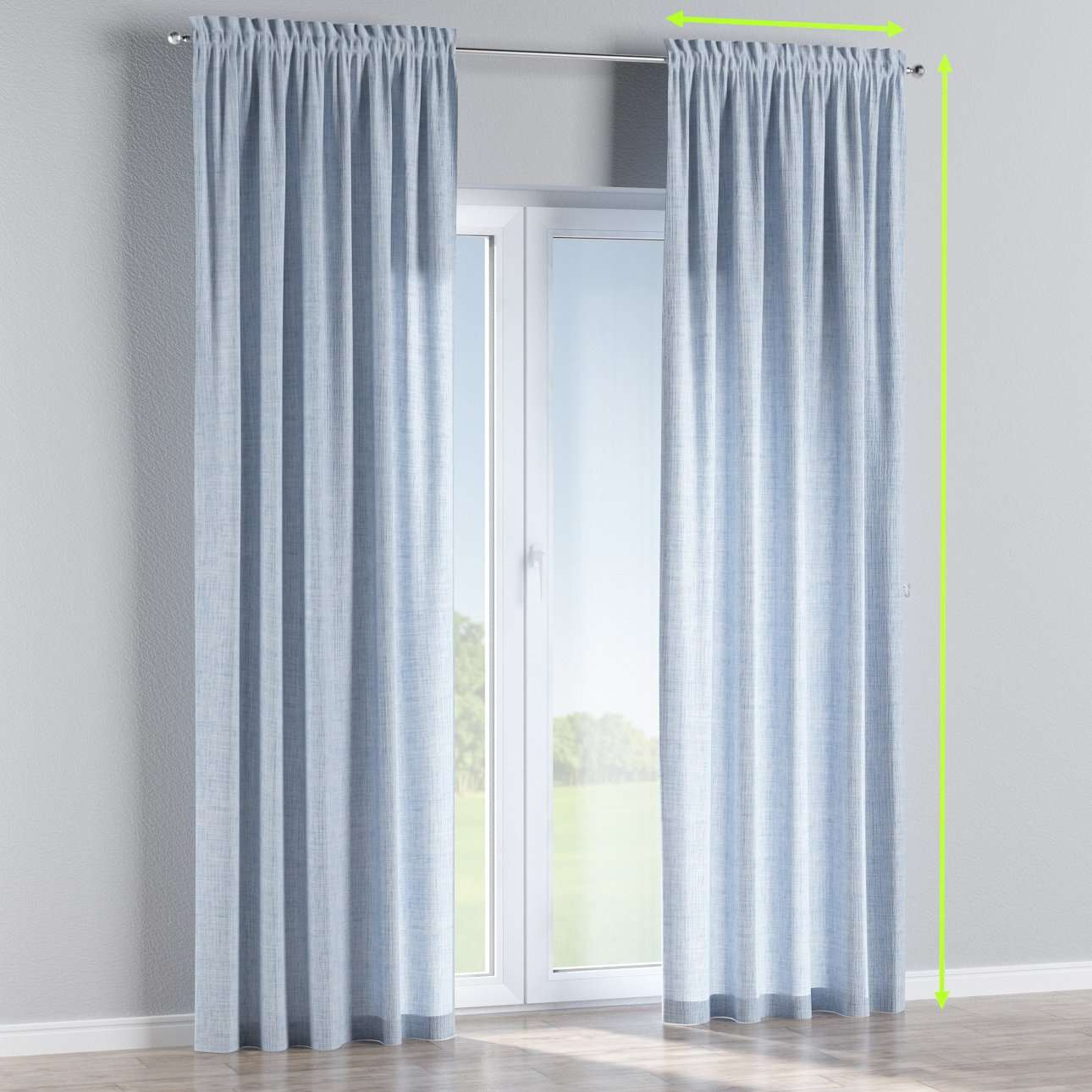 Slot and frill lined curtains in collection Aquarelle, fabric: 140-74