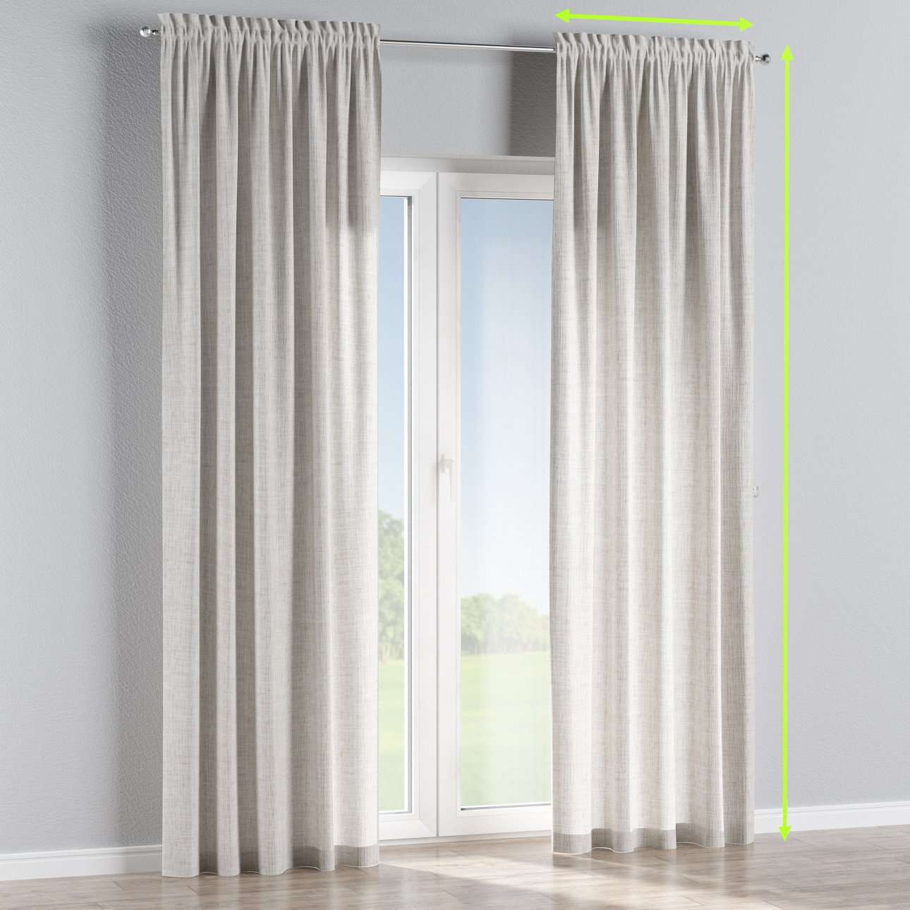 Slot and frill lined curtains in collection Aquarelle, fabric: 140-75