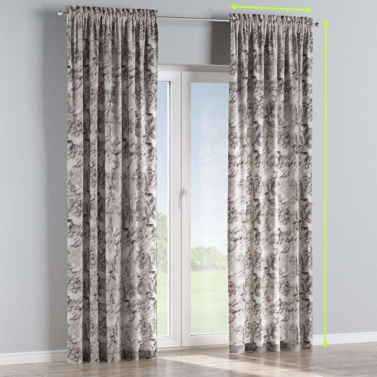 Slot and frill lined curtains in collection Norge, fabric: 140-82