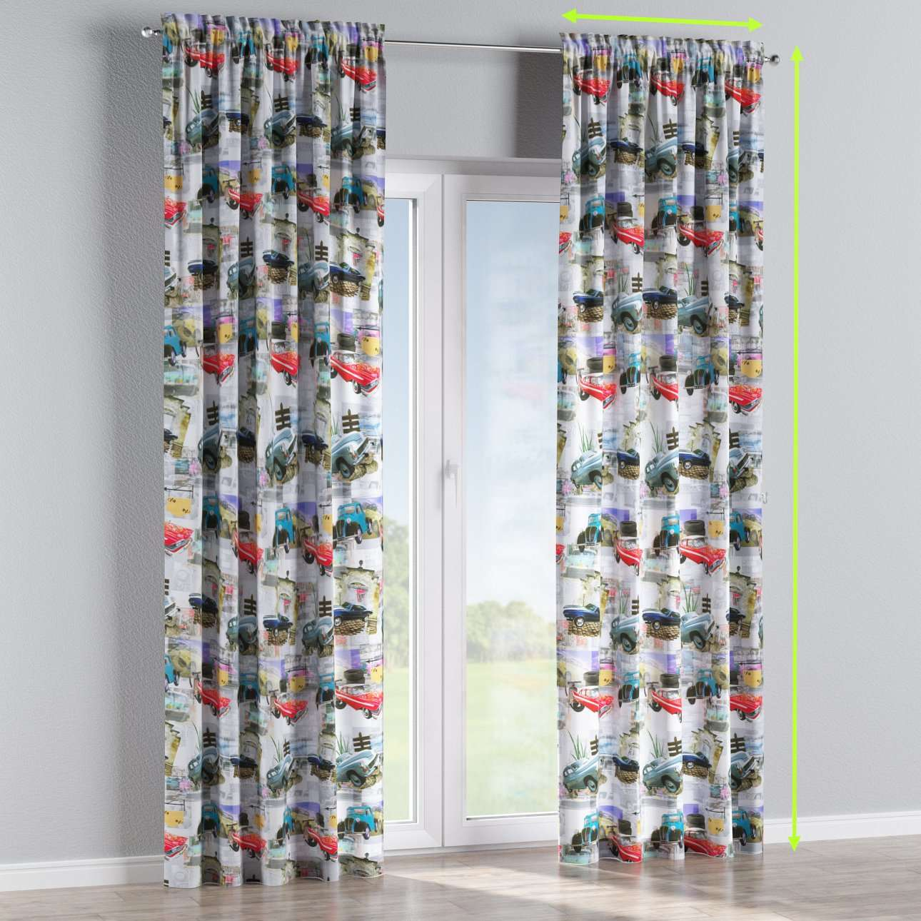 Slot and frill lined curtains in collection Freestyle, fabric: 140-91