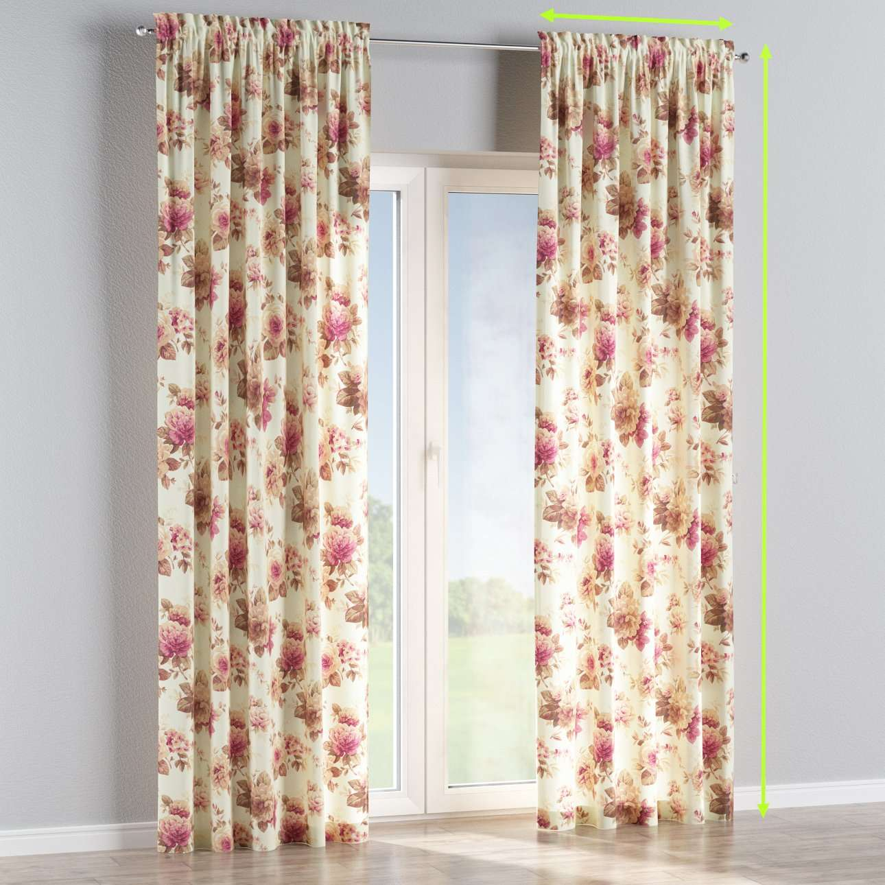 Slot and frill lined curtains in collection Mirella, fabric: 141-06