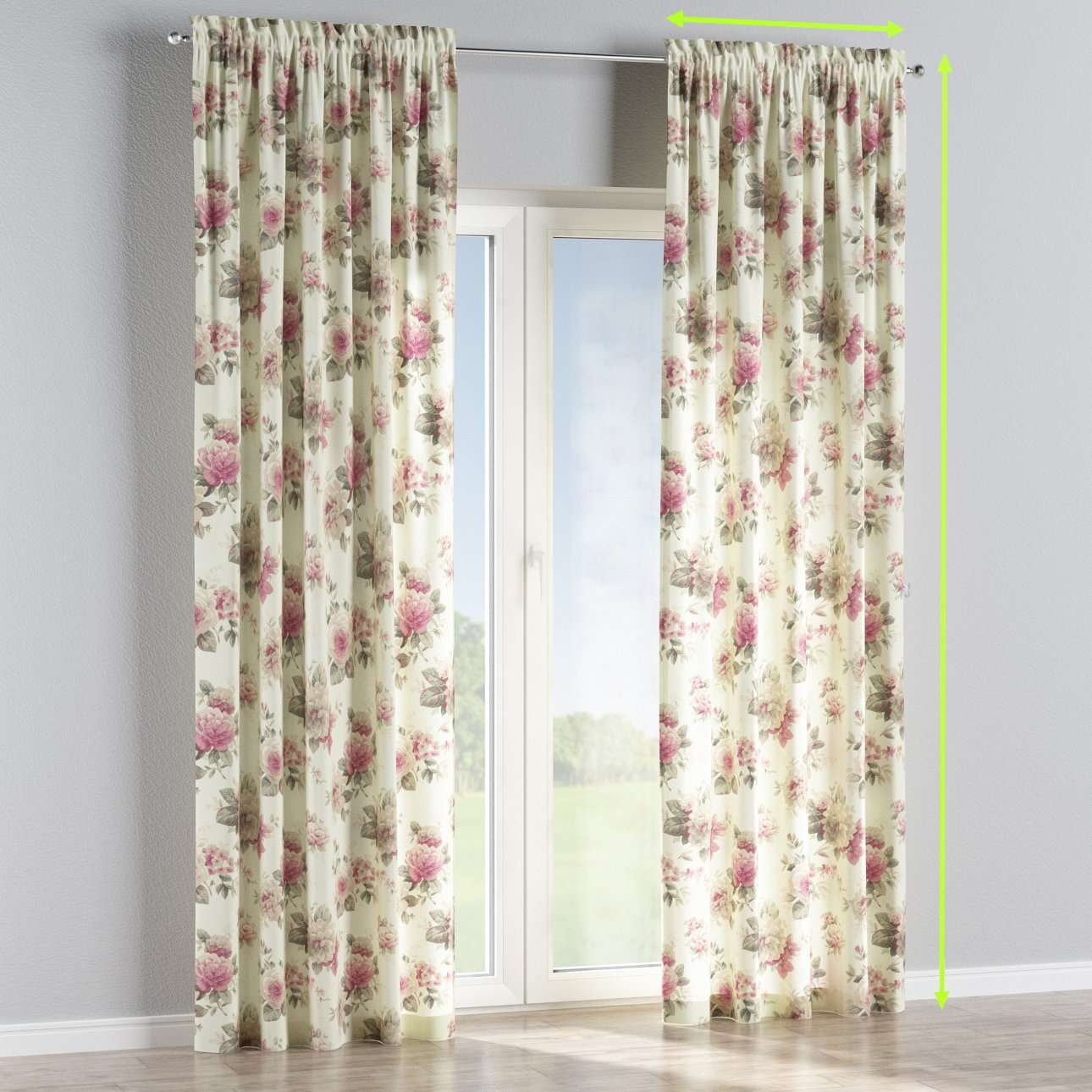 Slot and frill lined curtains in collection Mirella, fabric: 141-07