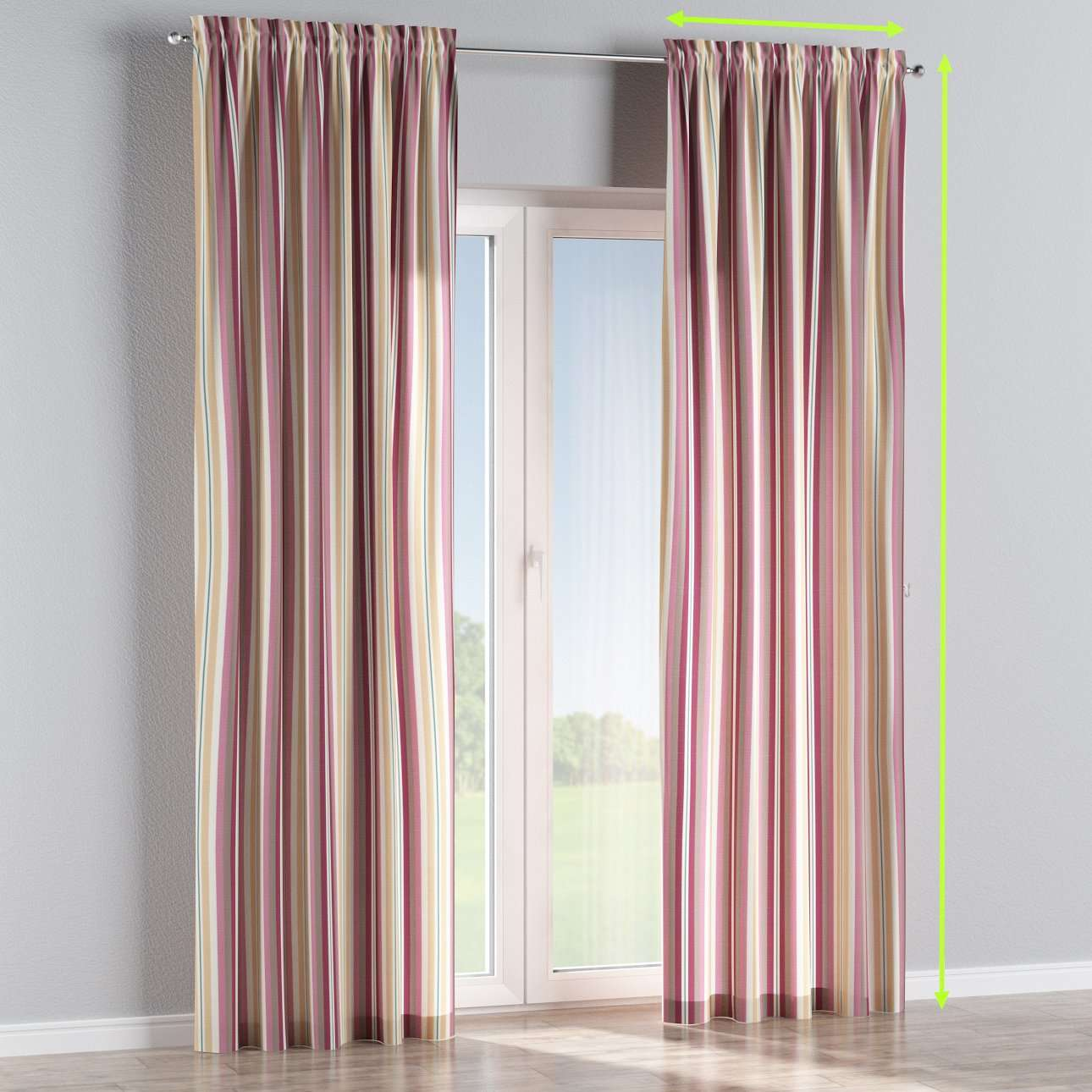Slot and frill lined curtains in collection Mirella, fabric: 141-14