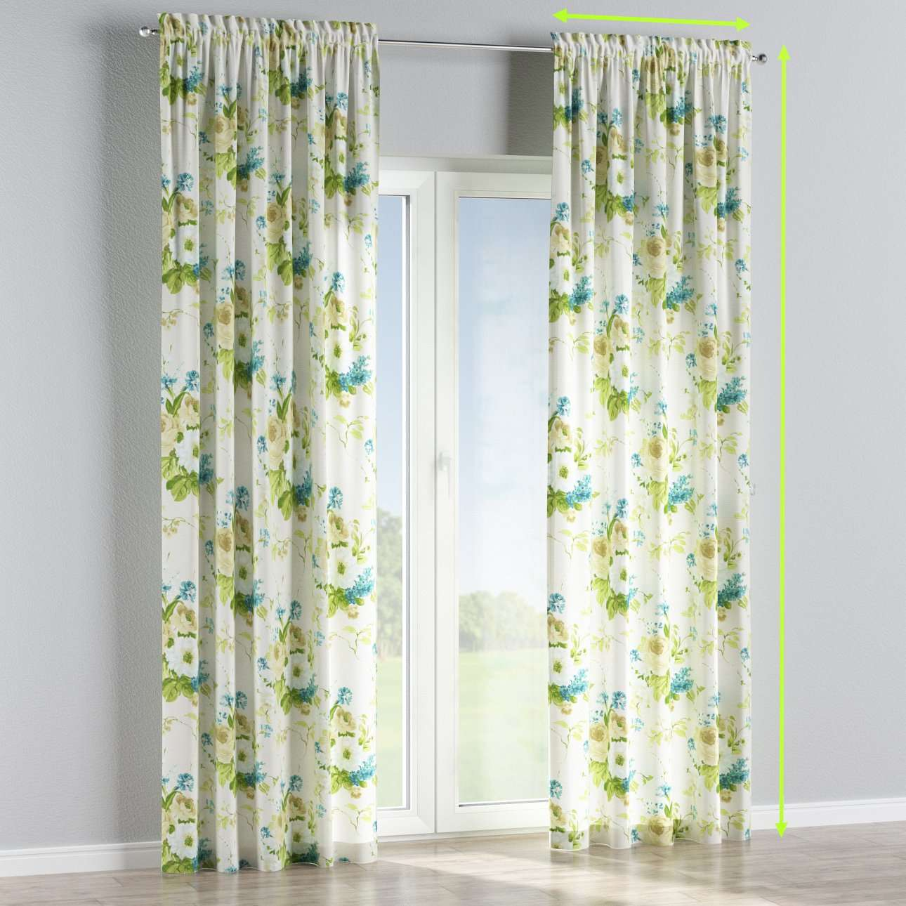 Slot and frill lined curtains in collection Mirella, fabric: 141-15