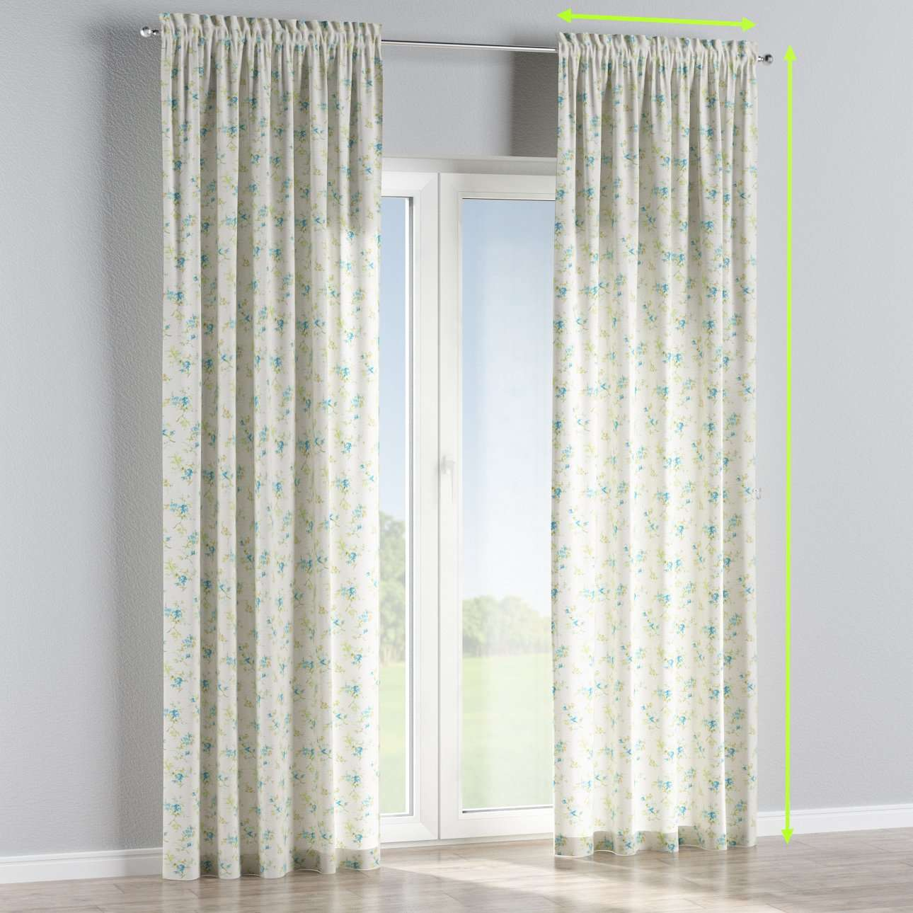Slot and frill lined curtains in collection Mirella, fabric: 141-16