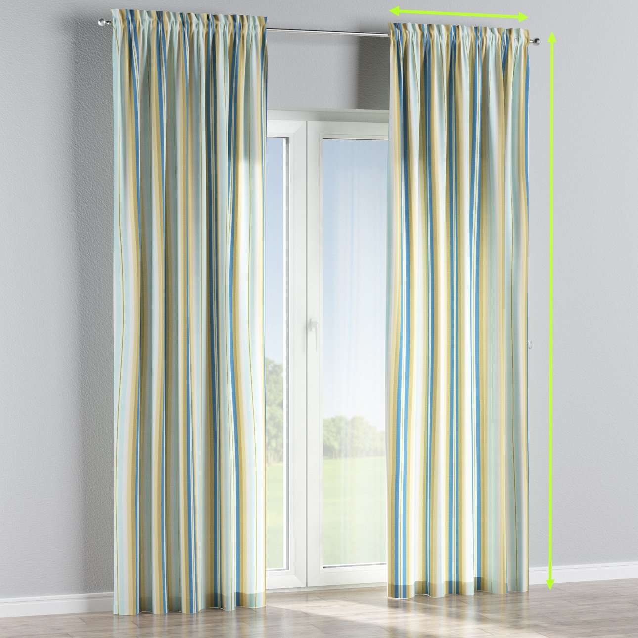 Slot and frill lined curtains in collection Mirella, fabric: 141-17