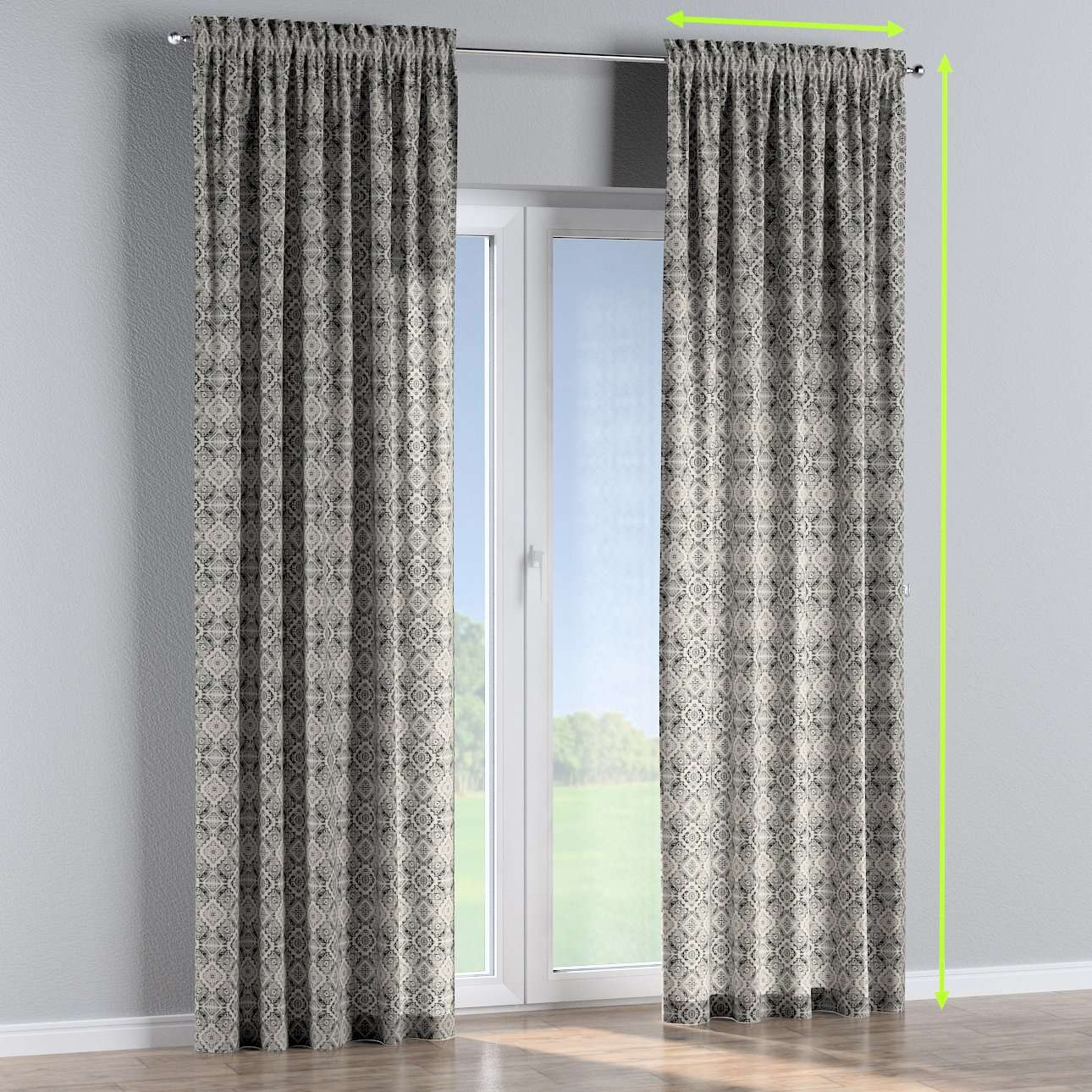 Slot and frill lined curtains in collection Comic Book & Geo Prints, fabric: 141-18