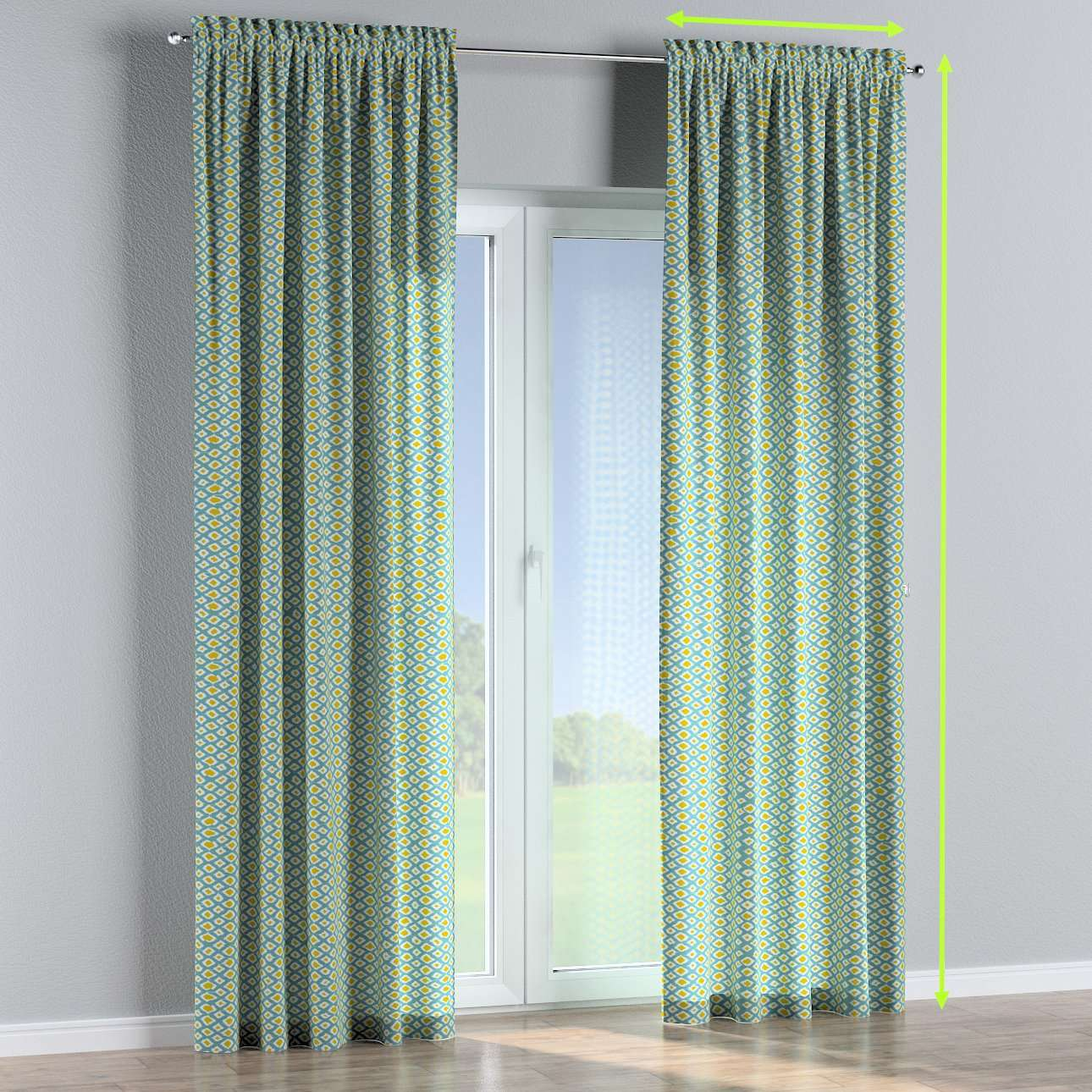 Slot and frill lined curtains in collection Comic Book & Geo Prints, fabric: 141-20
