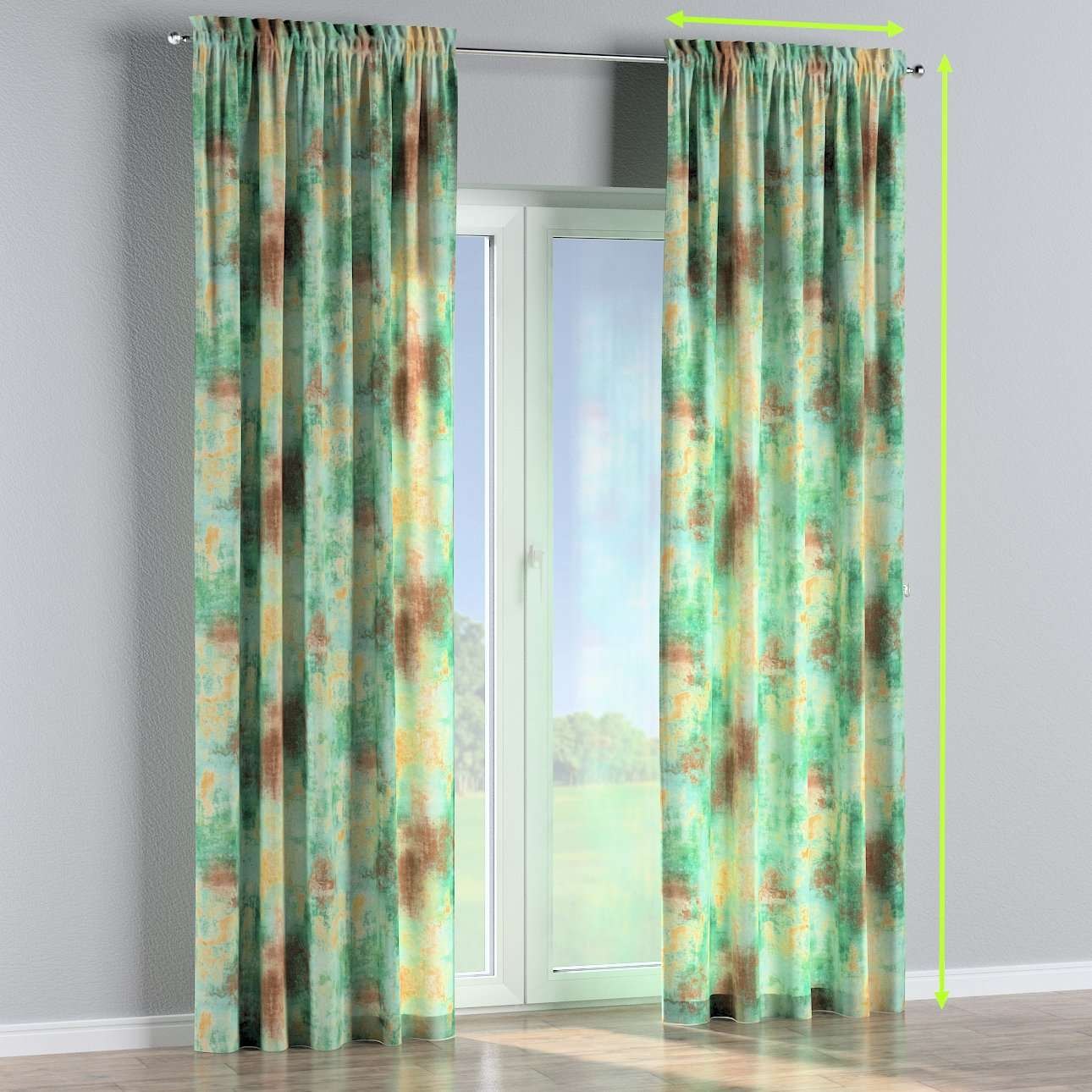 Slot and frill lined curtains in collection Urban Jungle, fabric: 141-22