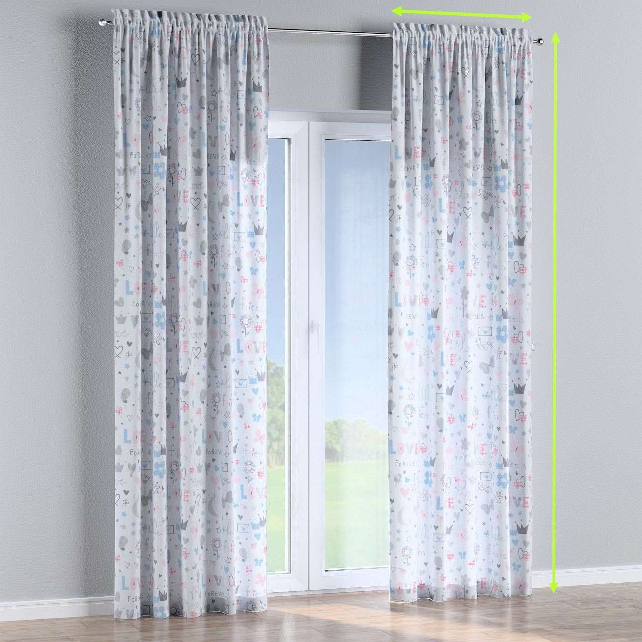 Slot and frill lined curtains in collection Little World, fabric: 141-27